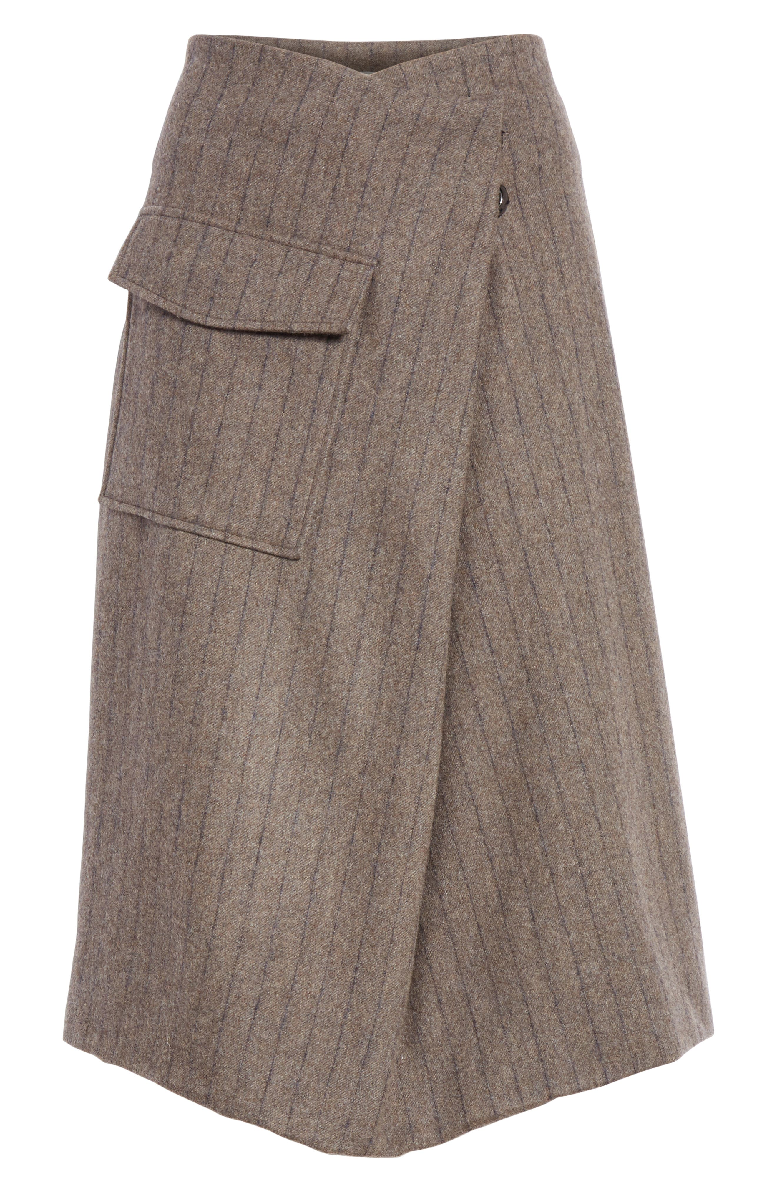 Noemie Pinstripe Wrap A-Line Skirt,                             Alternate thumbnail 6, color,                             STONE