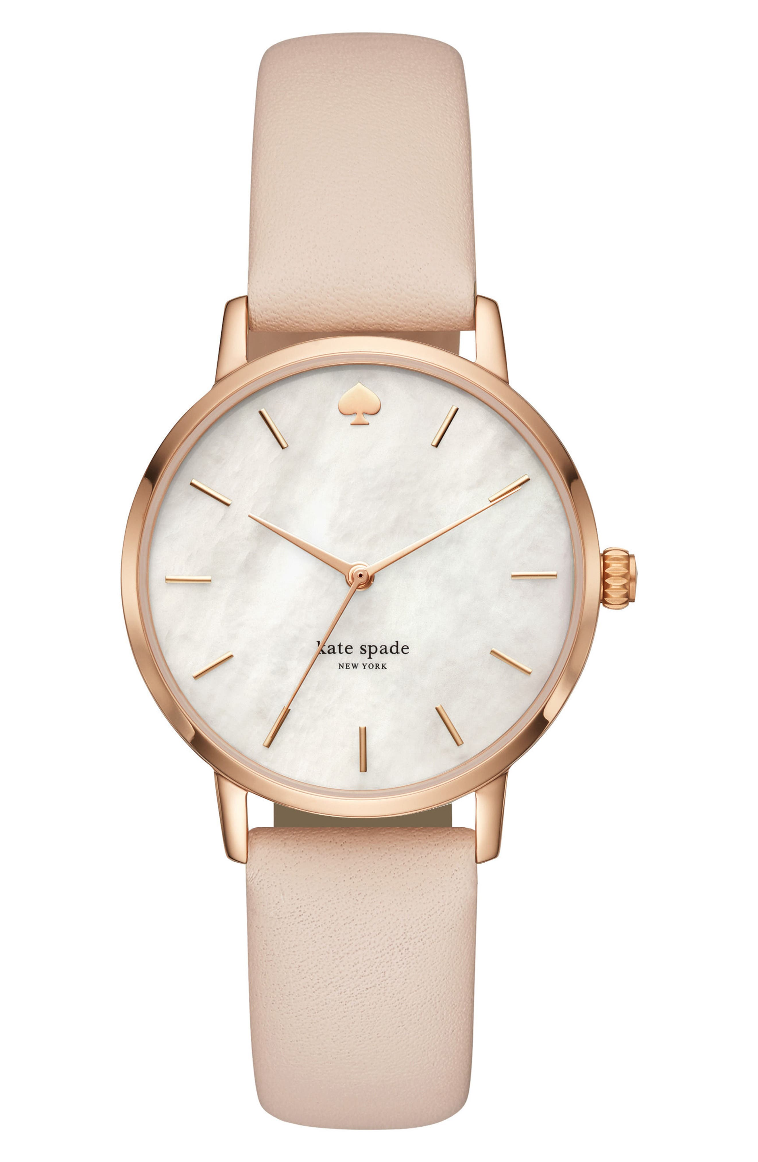 metro leather strap watch, 34mm,                         Main,                         color, BEIGE/ MOP/ ROSE GOLD