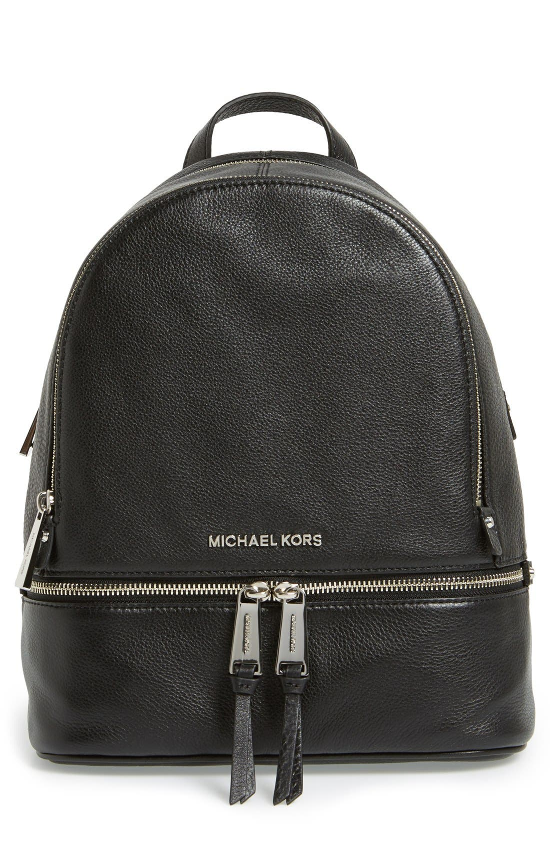 'Small Rhea Zip' Leather Backpack,                         Main,                         color, 001