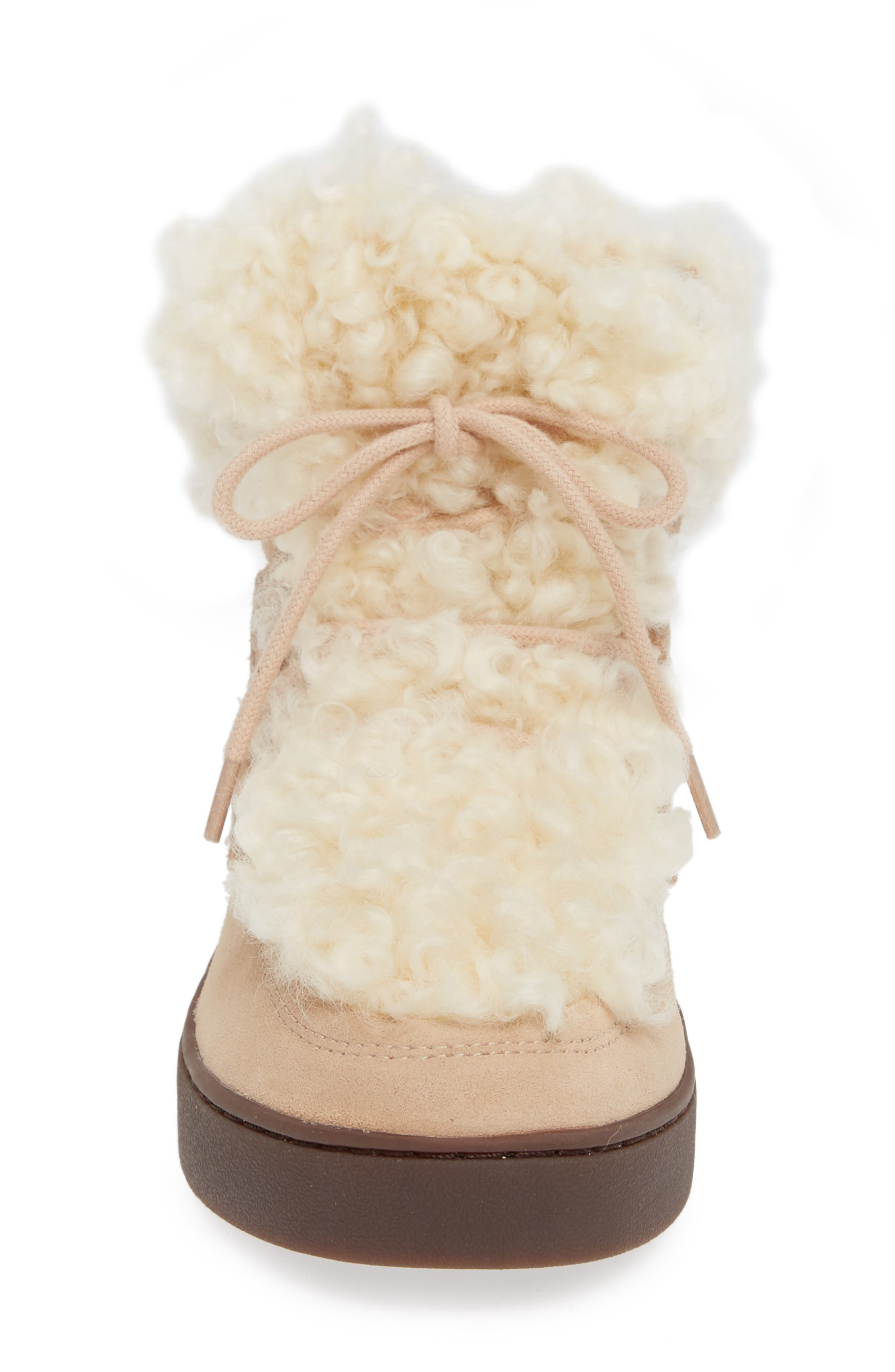 Oak Genuine Shearling Cuff Sneaker Bootie,                             Alternate thumbnail 4, color,                             SAND SUEDE