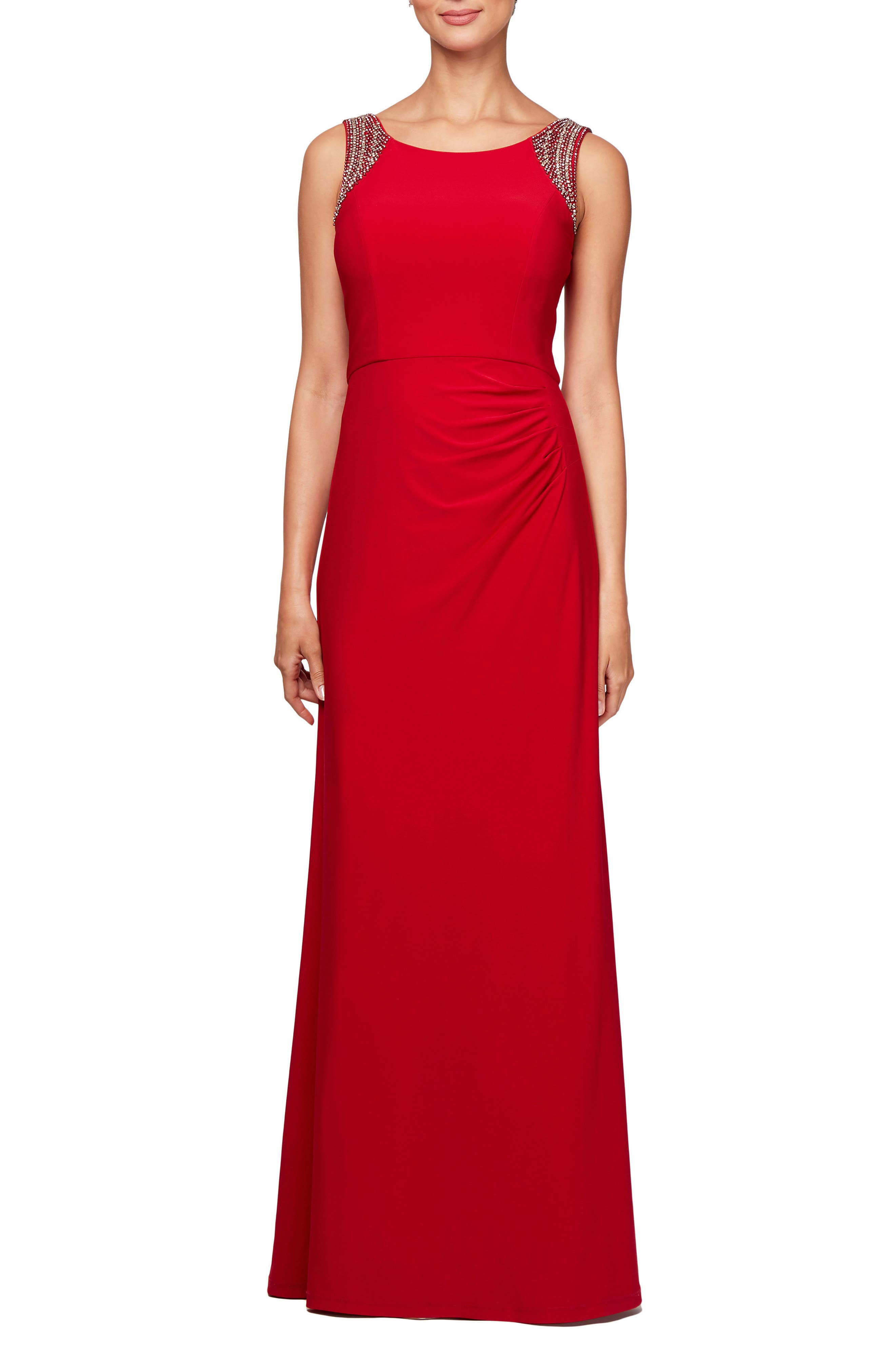 Side Ruched Gown,                             Main thumbnail 1, color,                             CRIMSON