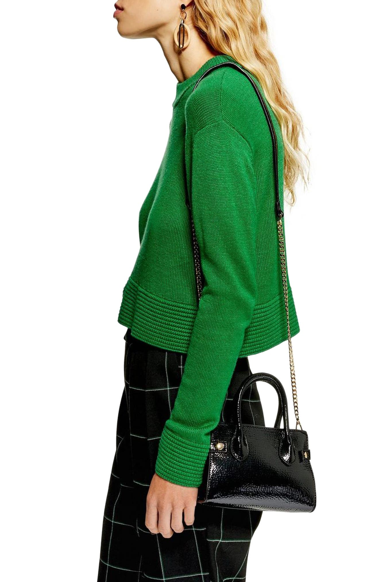 Cash Ottoman Crop Sweater,                             Alternate thumbnail 3, color,                             GREEN
