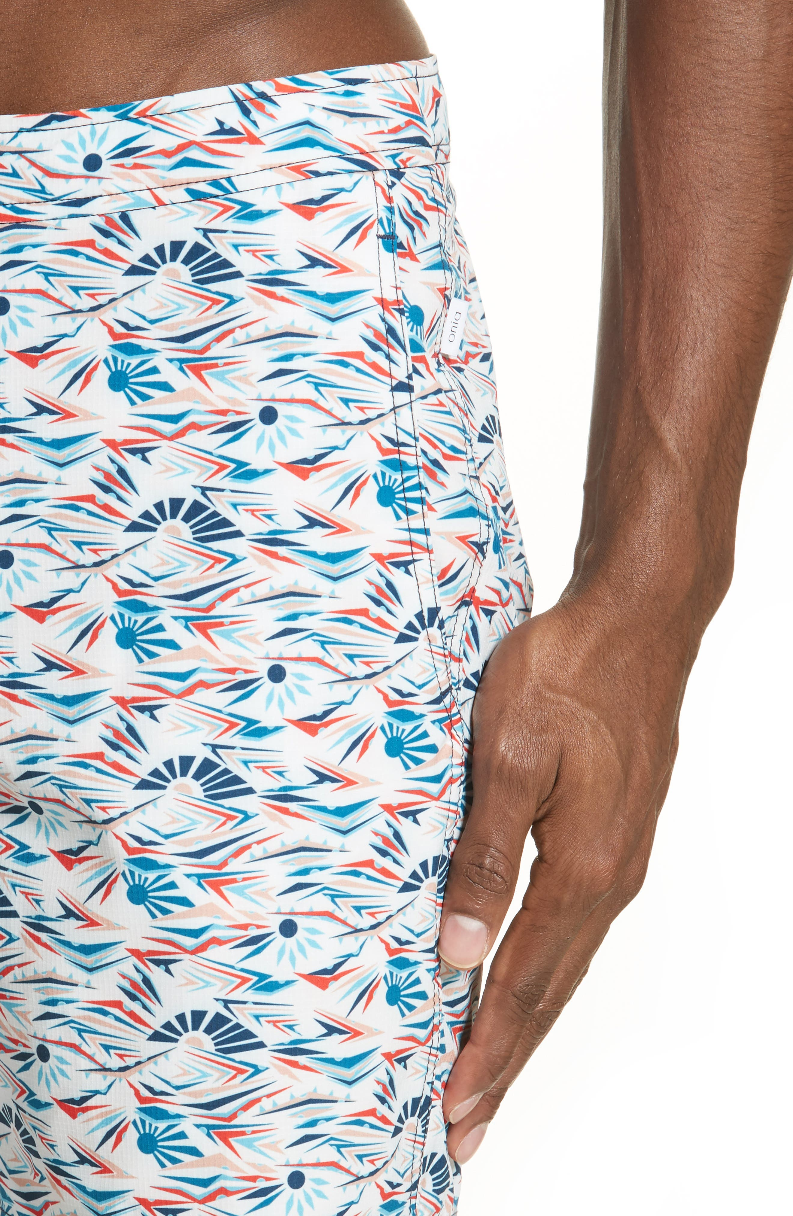 Calder Sunrise Print Swim Trunks,                             Alternate thumbnail 4, color,                             WHITE MULTI