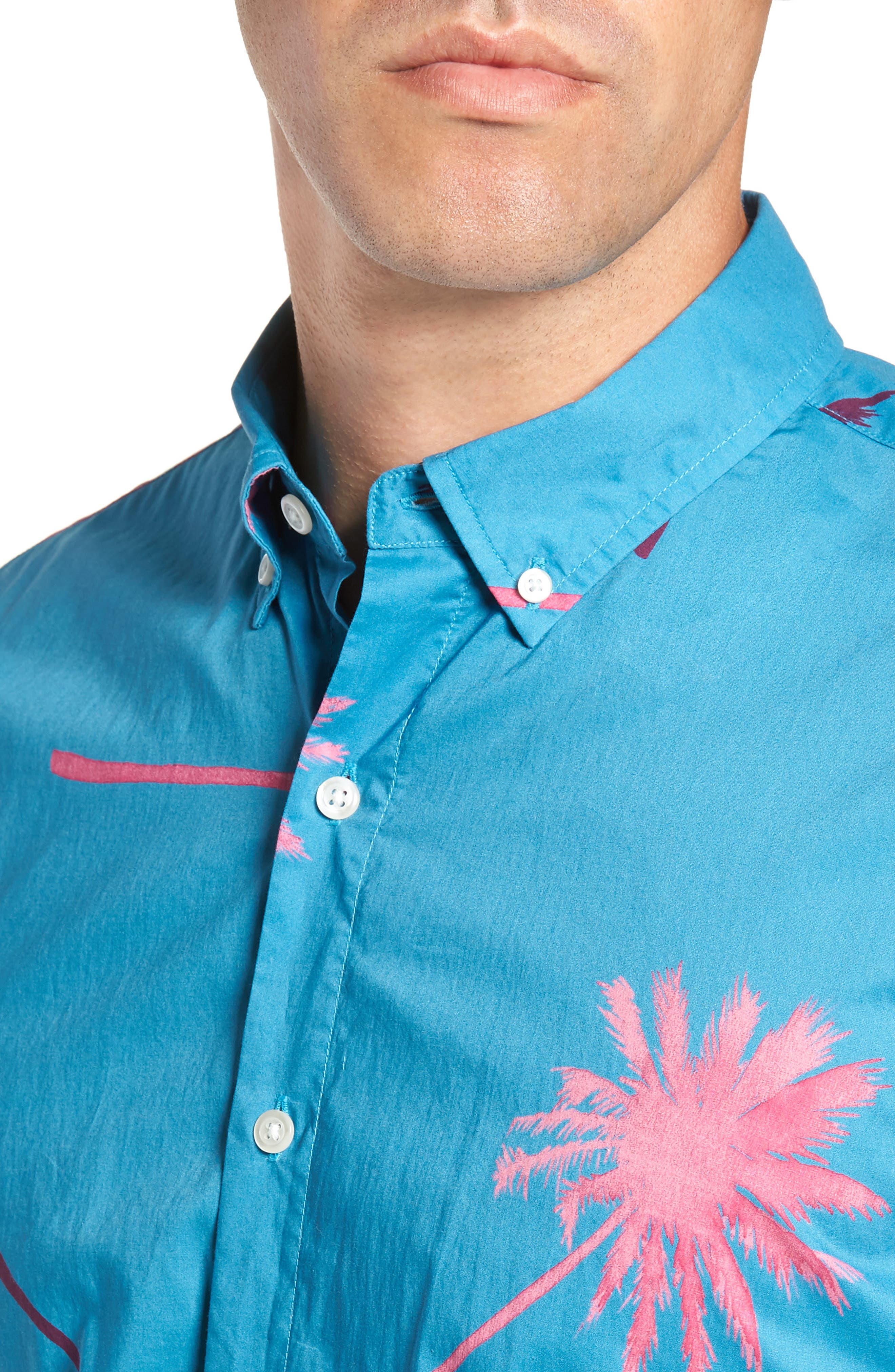 Slim Fit Palm Tree Sport Shirt,                             Alternate thumbnail 4, color,                             400