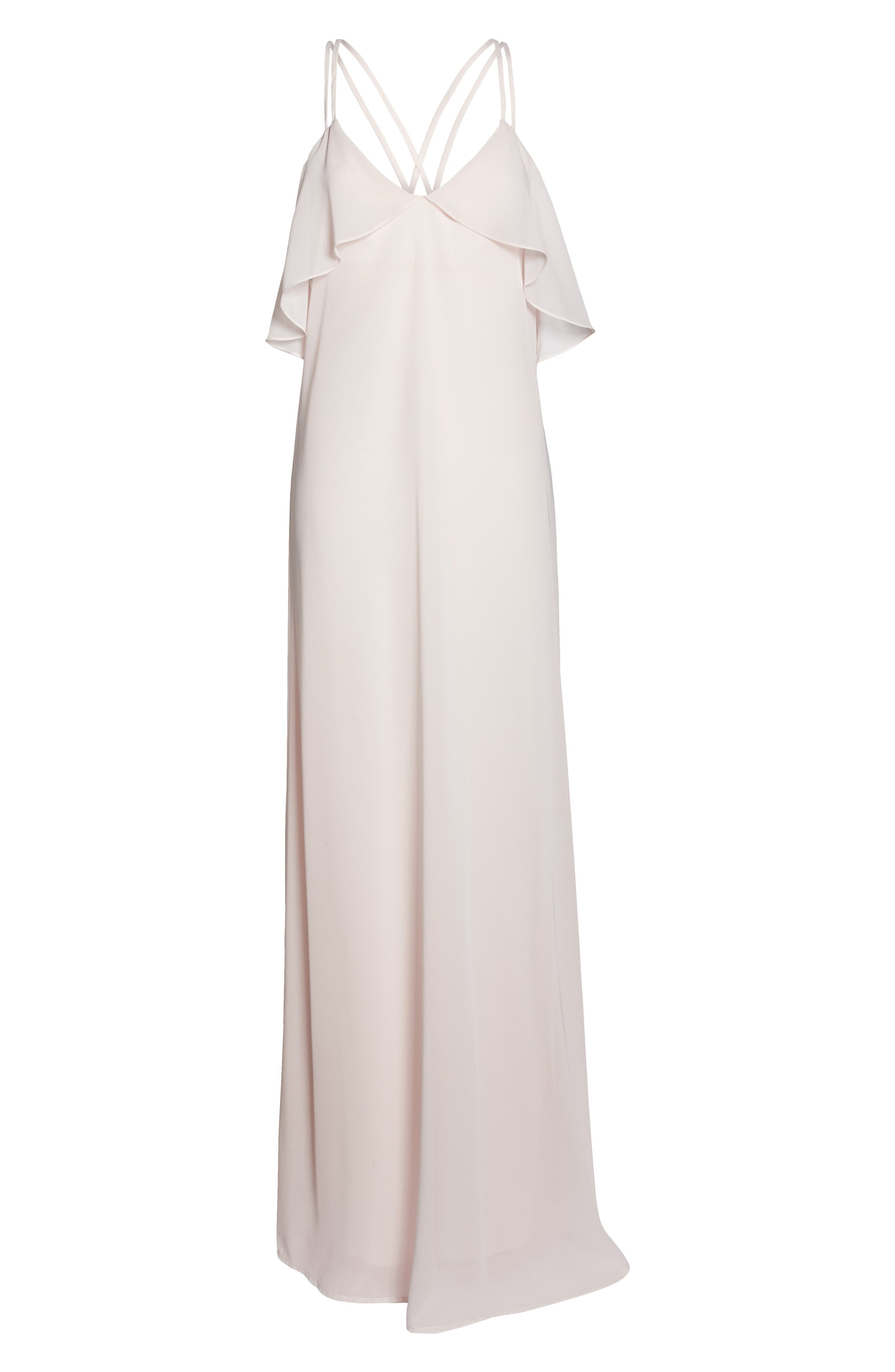 Avery Strappy Ruffle V-Neck Gown,                             Alternate thumbnail 13, color,