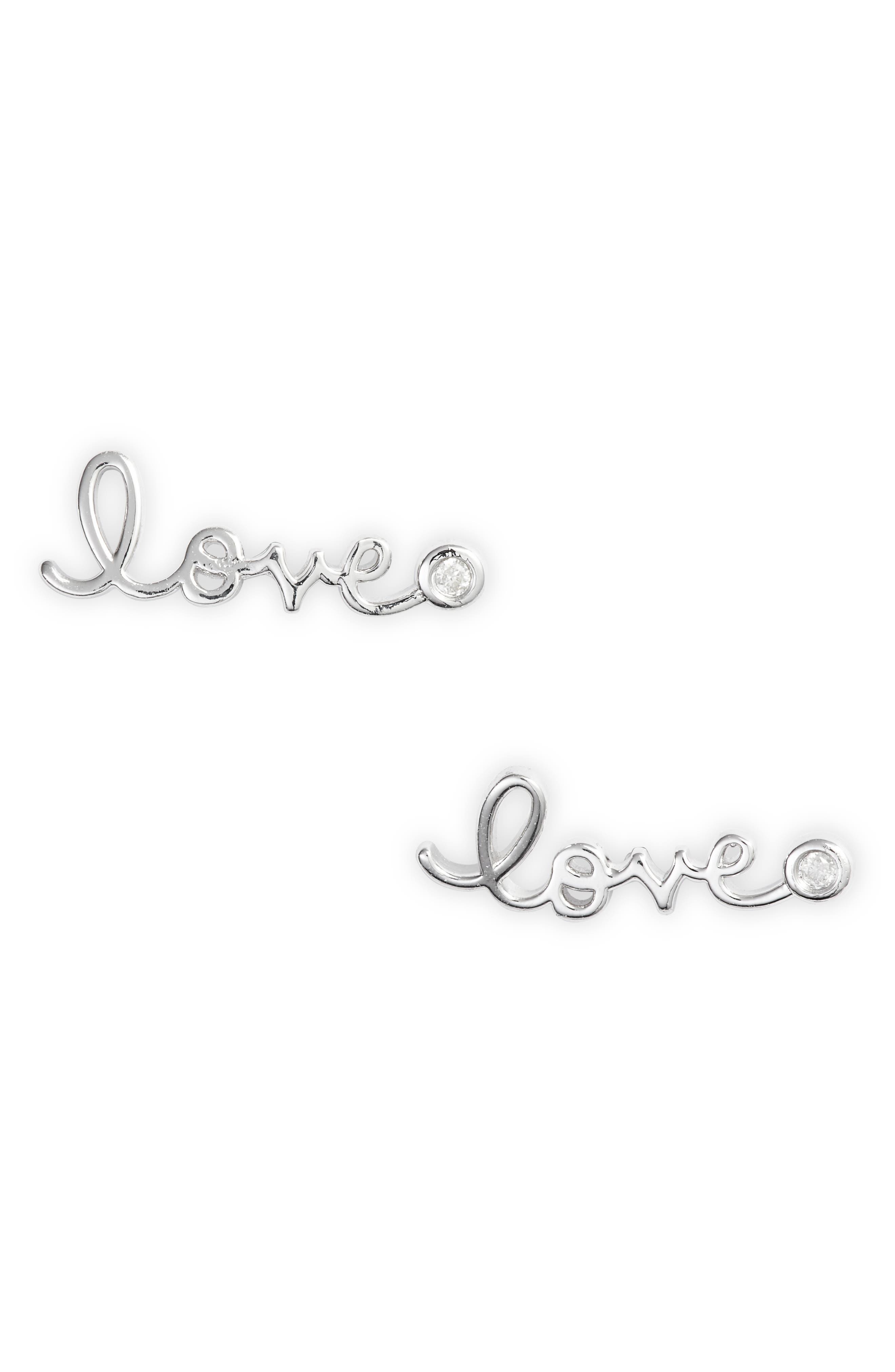 Love Diamond Stud Earrings,                             Alternate thumbnail 2, color,                             SILVER