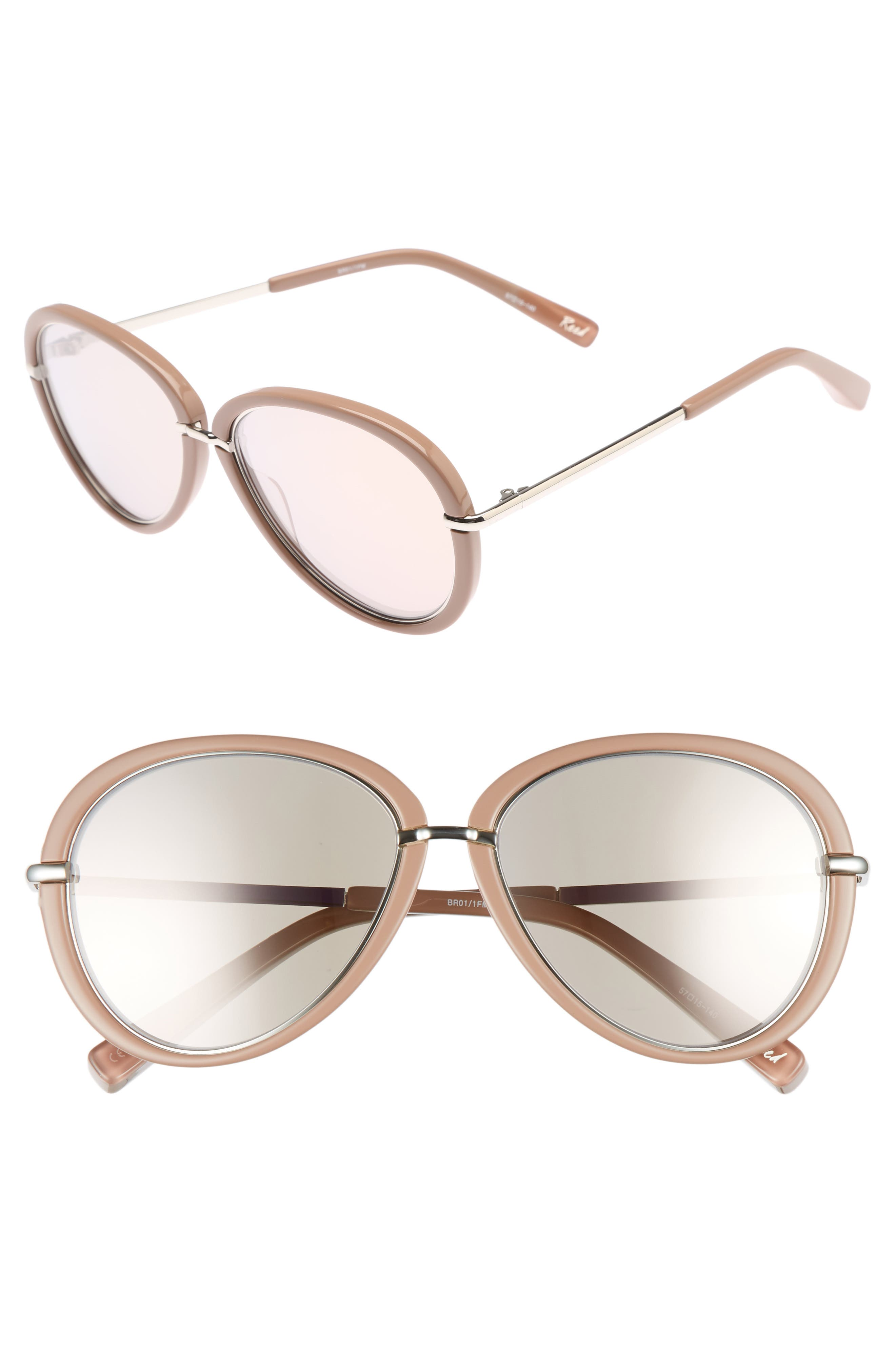 Reed 57mm Aviator Sunglasses,                             Main thumbnail 1, color,