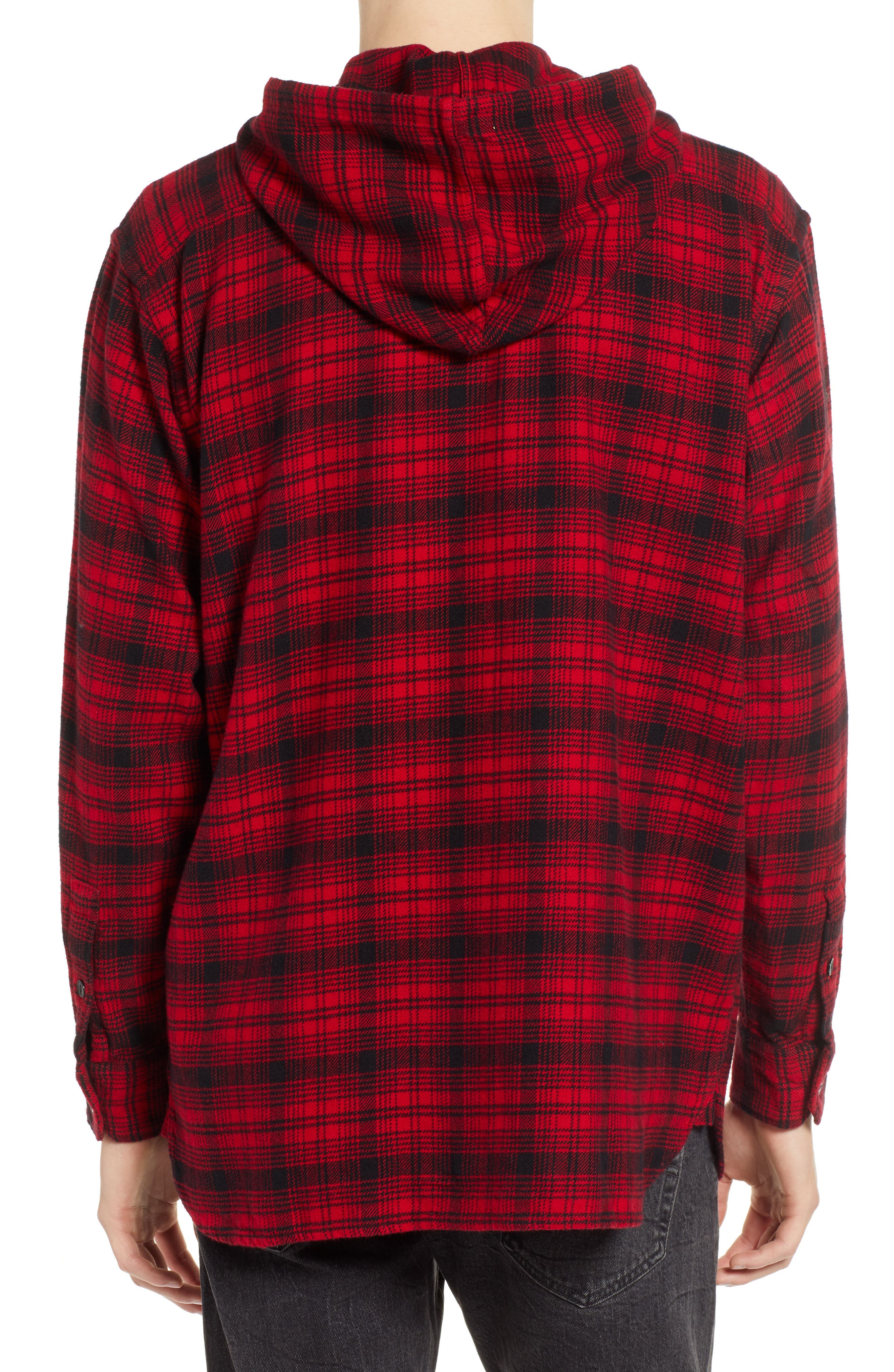 x Justin Timberlake Hooded Flannel Worker Shirt,                             Alternate thumbnail 3, color,                             SERVAL CRIMSON