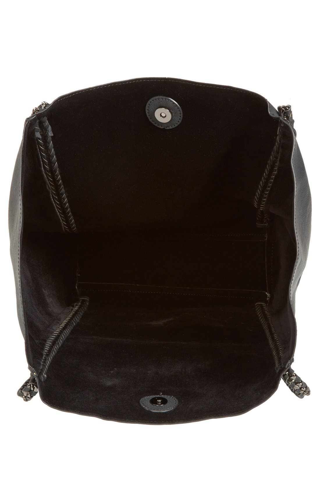 Chain Faux Leather Tote,                             Alternate thumbnail 6, color,                             001