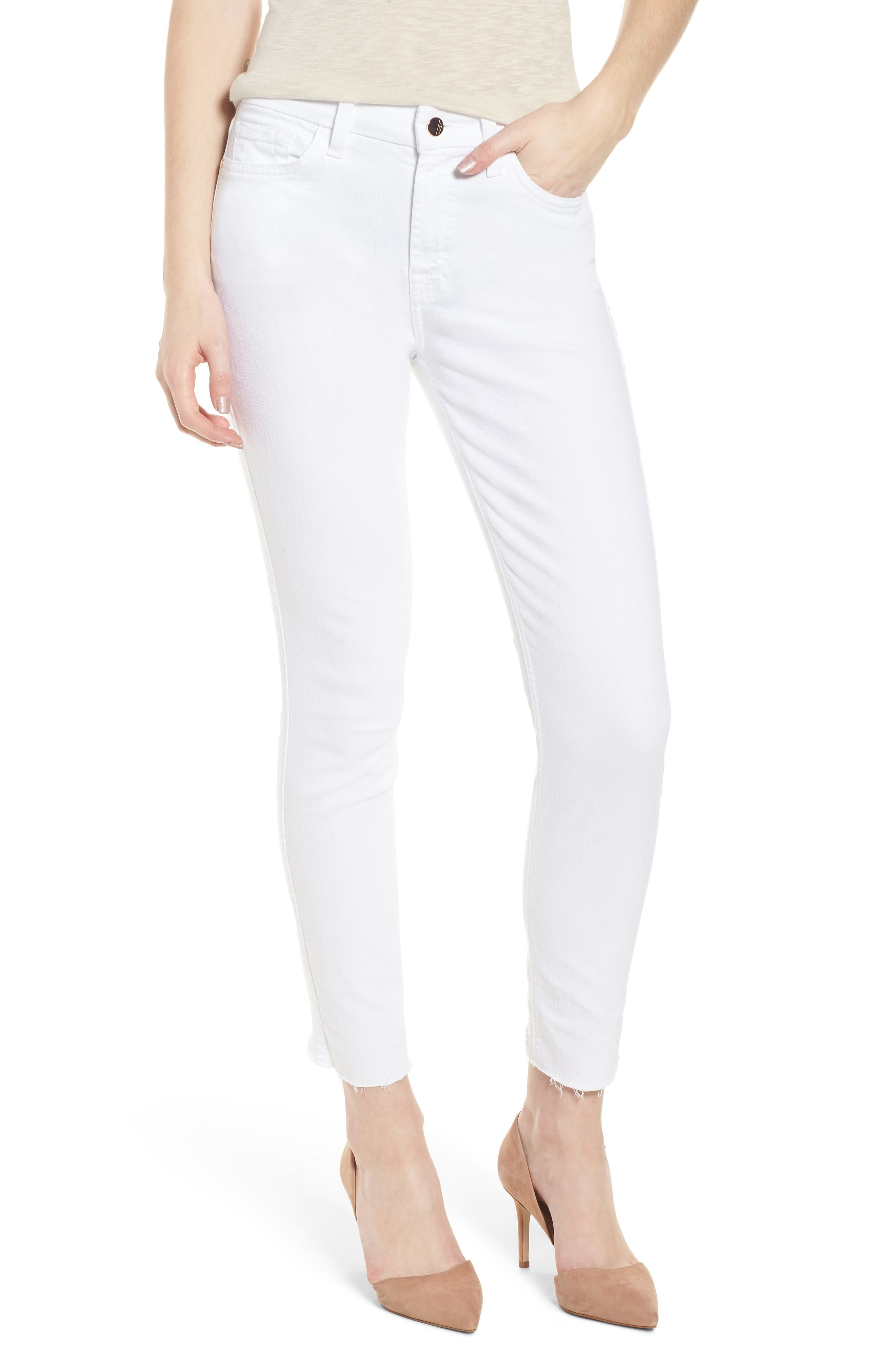Zip Ankle Skinny Jeans,                         Main,                         color, WHITE