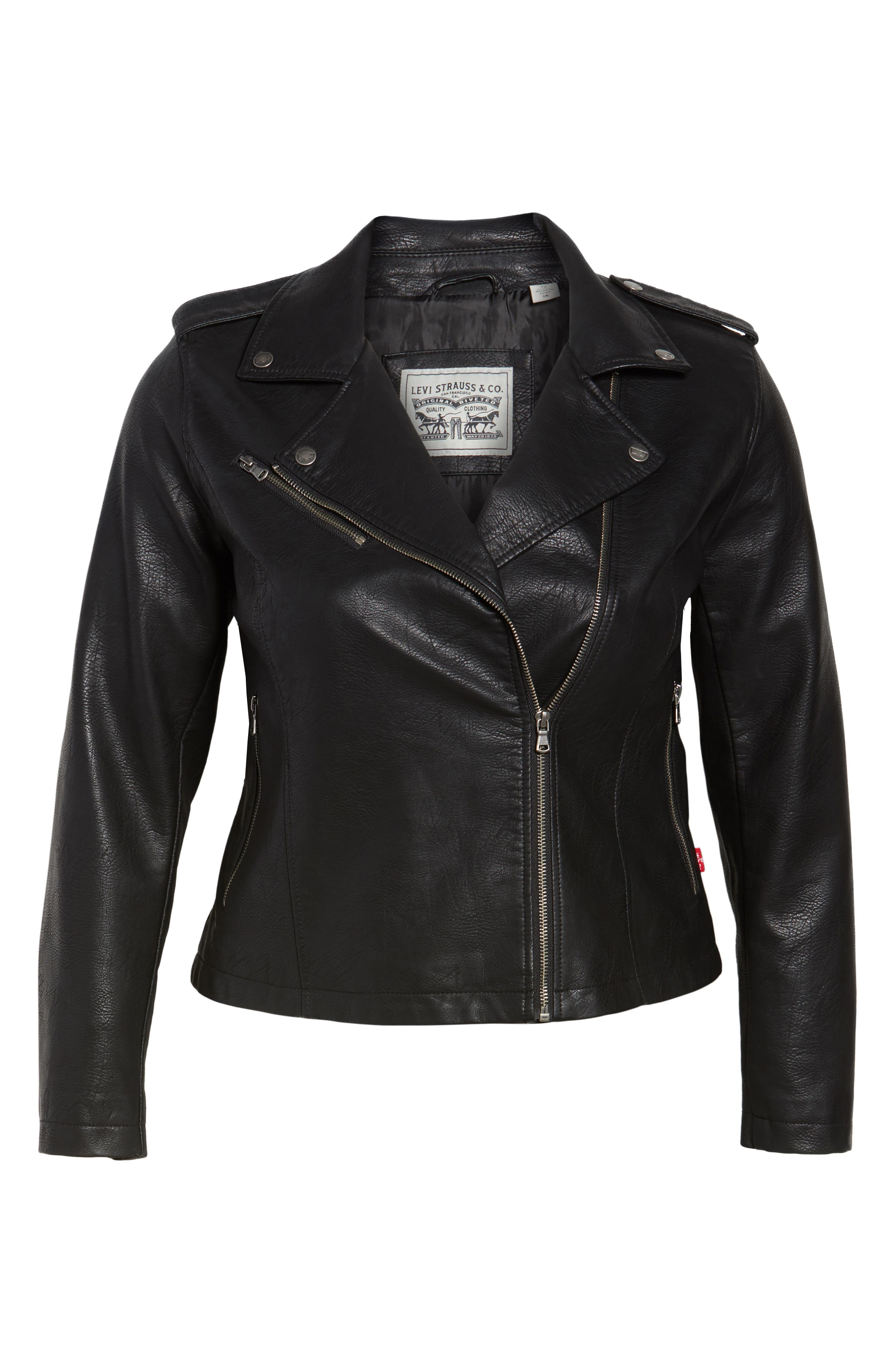 Faux Leather Jacket,                             Alternate thumbnail 5, color,                             BLACK