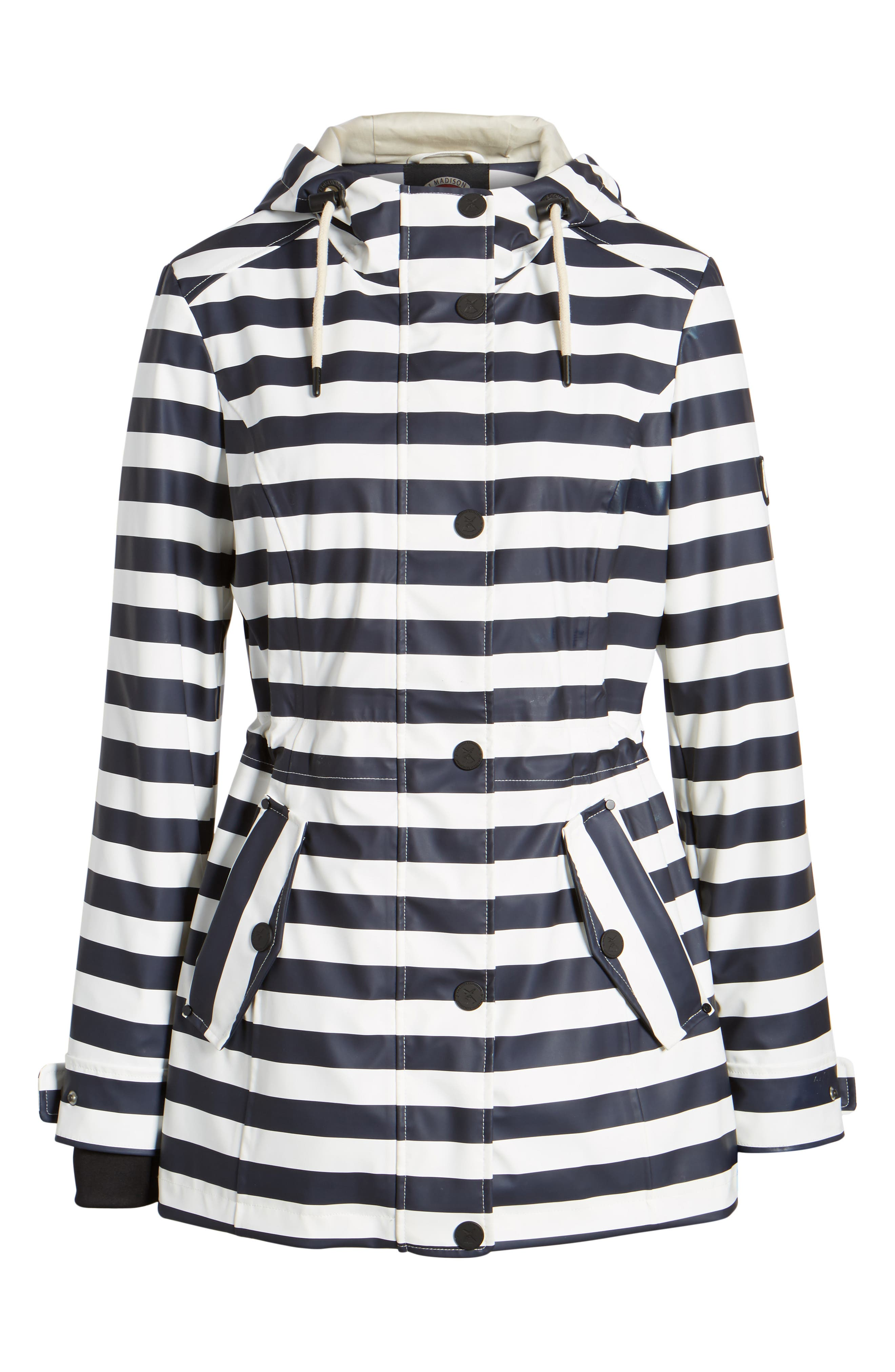 30 Stripe Hooded Raincoat,                             Alternate thumbnail 5, color,                             400