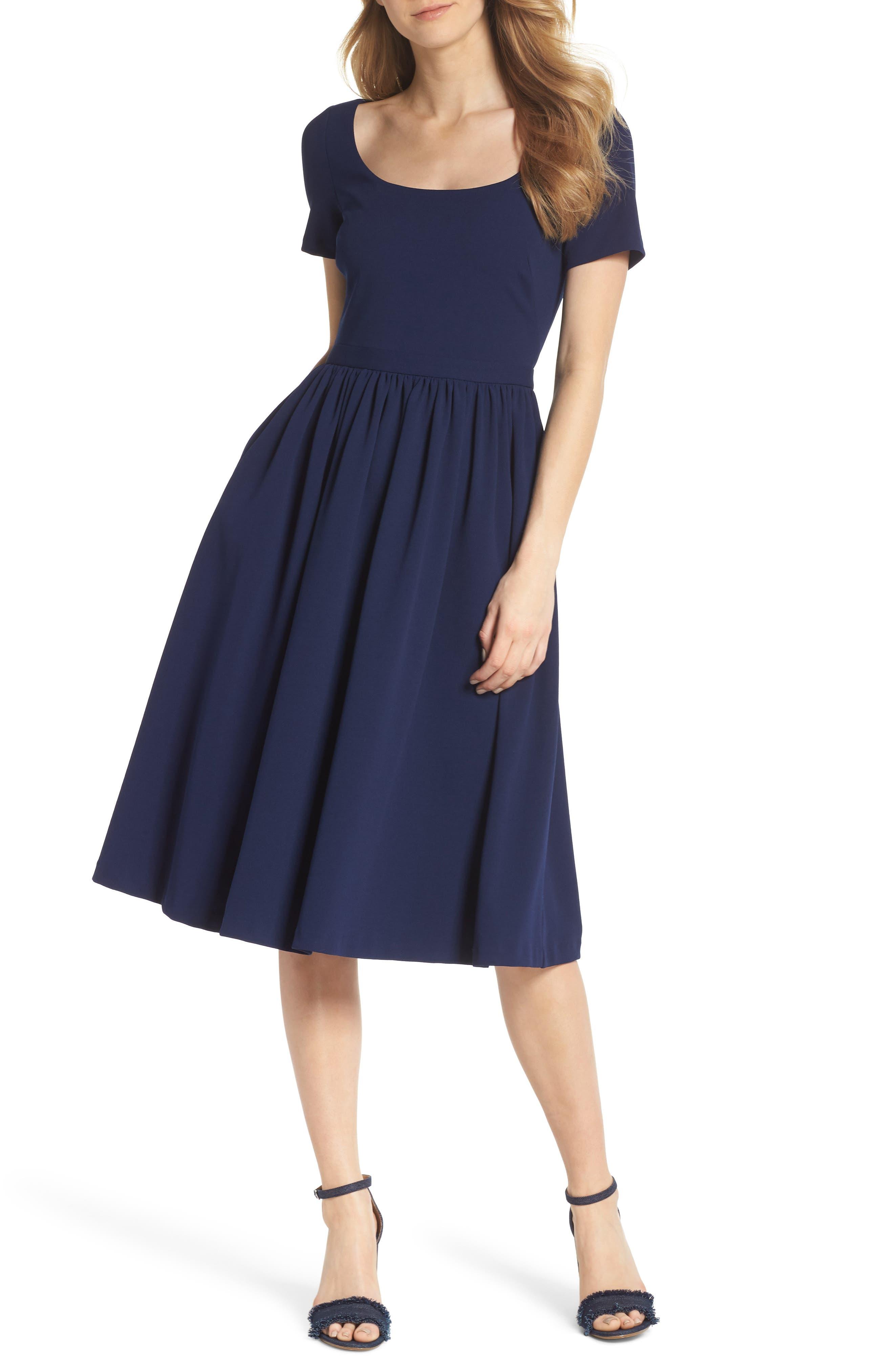 Annie Scuba Crepe Fit & Flare Dress,                             Main thumbnail 1, color,                             NAVY