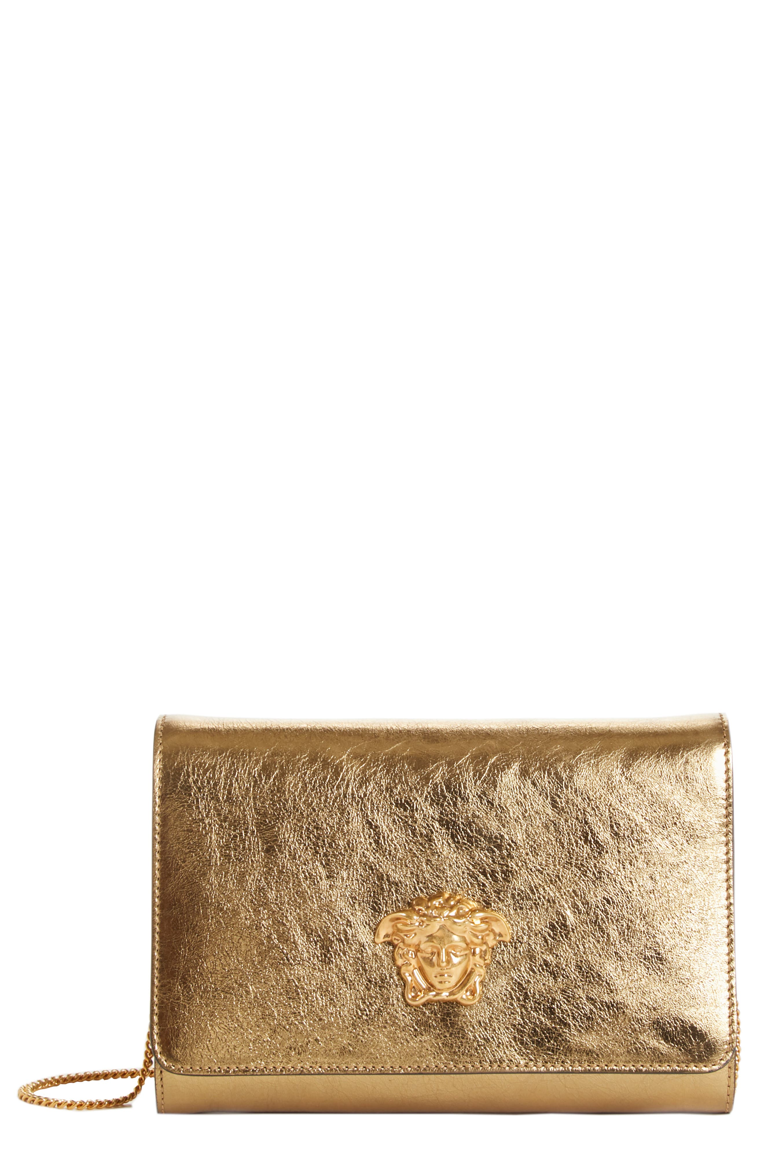 Palazzo Metallic Leather Clutch,                             Main thumbnail 1, color,