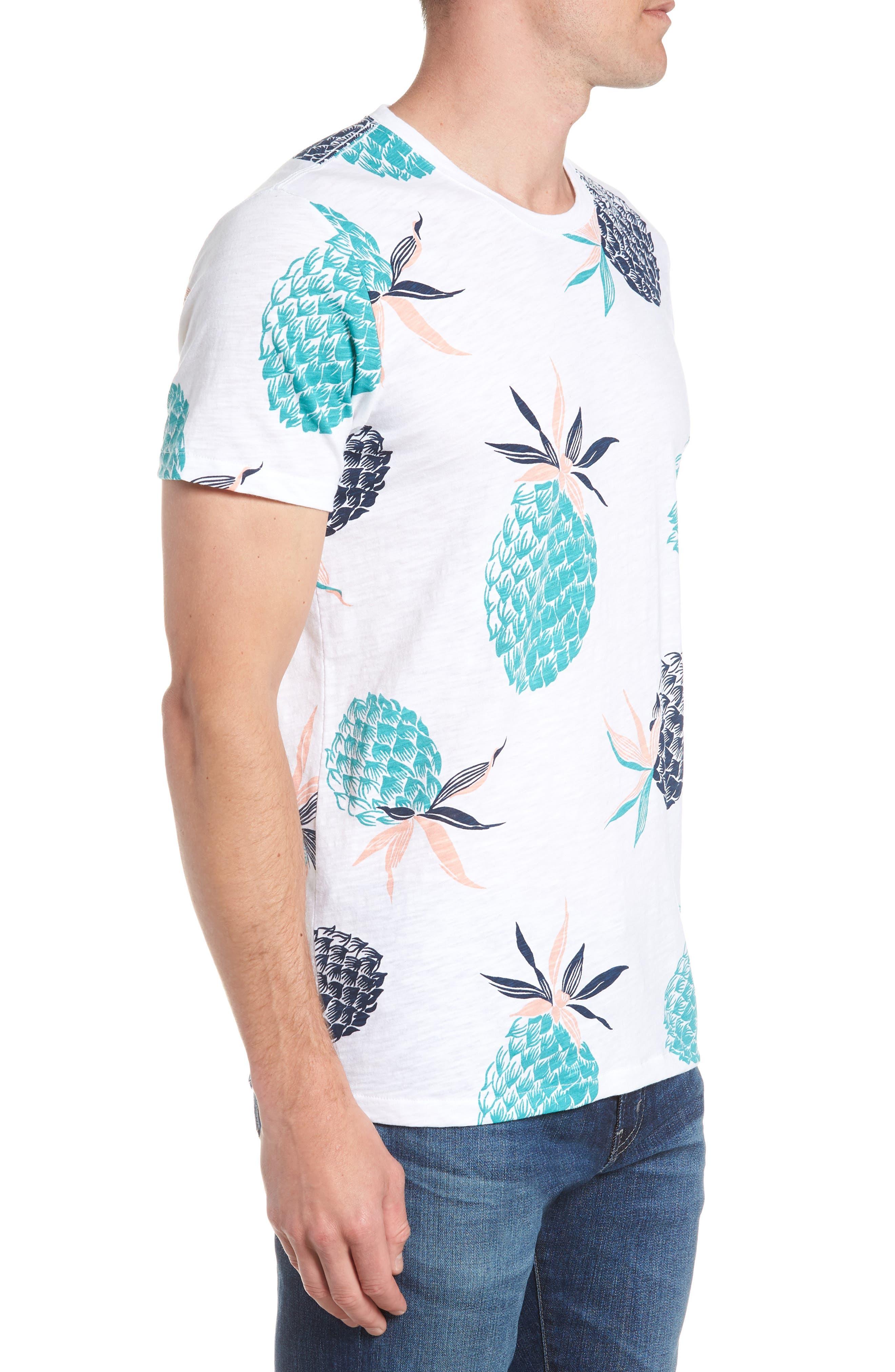 Pineapple Party Slim Fit T-Shirt,                             Alternate thumbnail 3, color,                             100