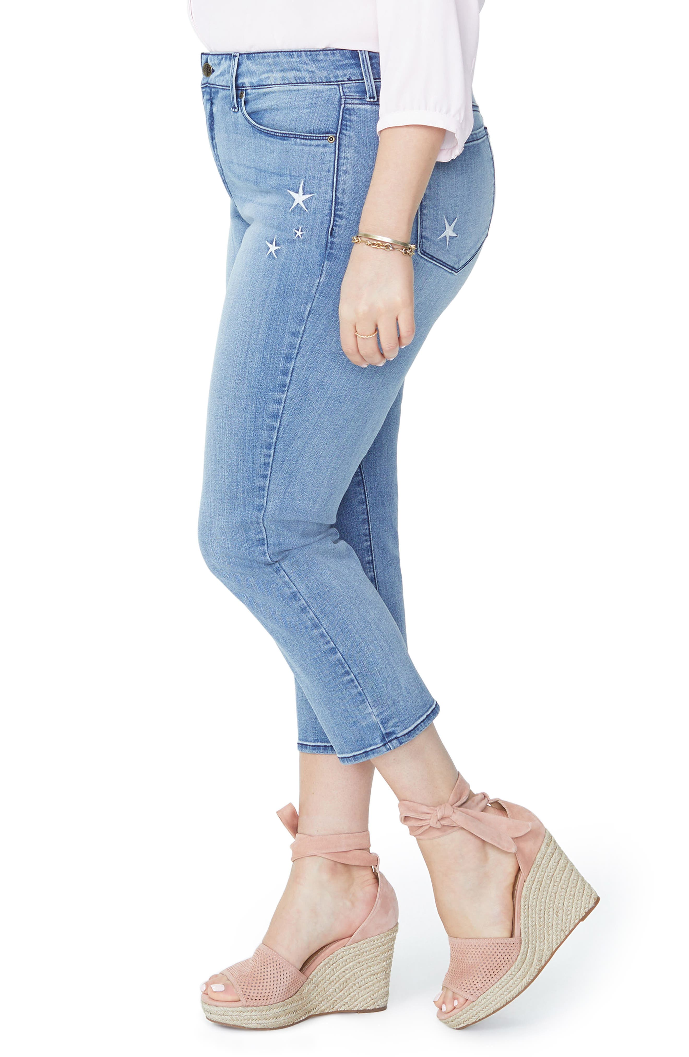 Marilyn Seastar Embroidered Ankle Skinny Jeans,                             Alternate thumbnail 3, color,                             POINT DUME