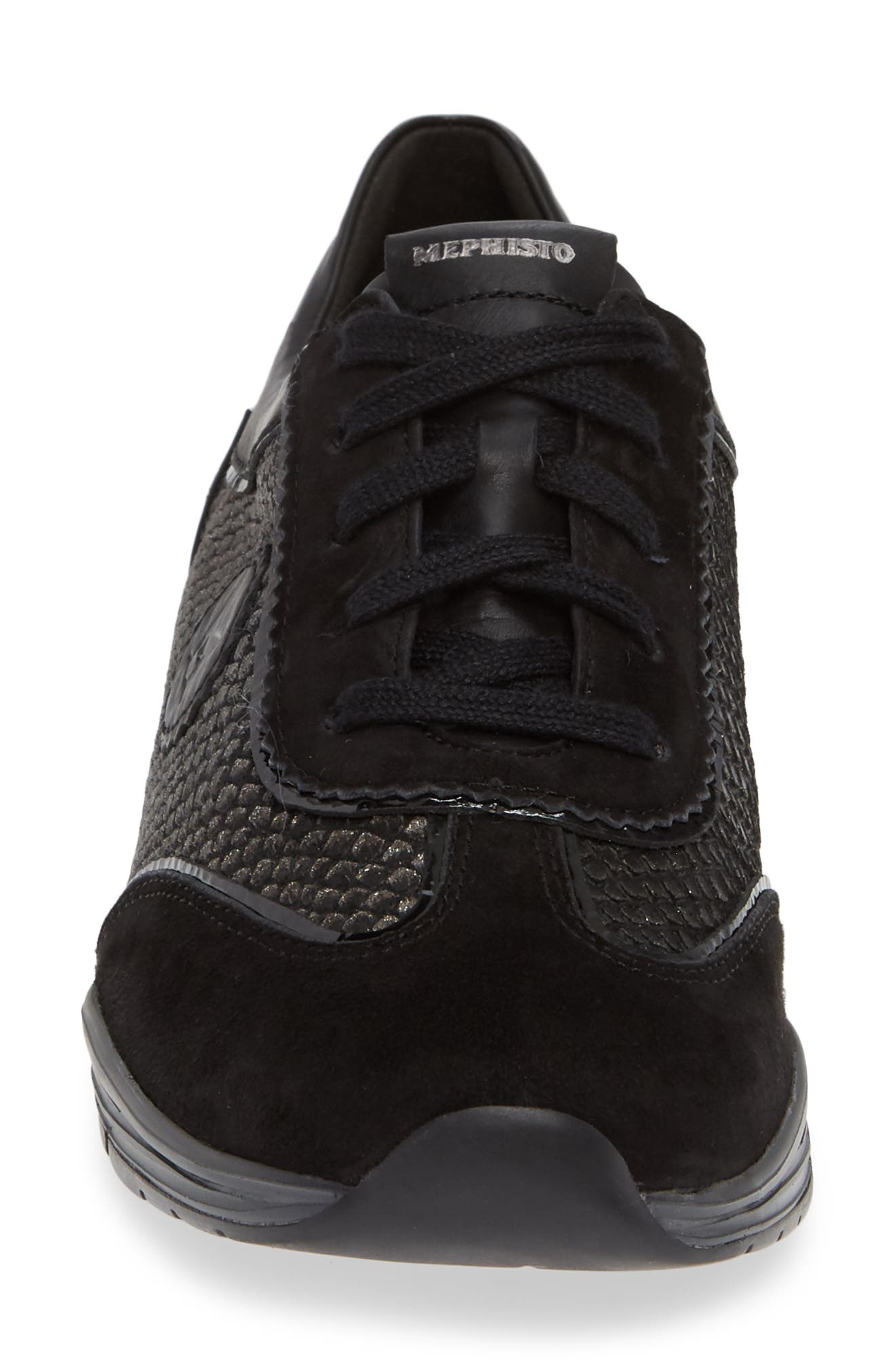 'Yael' Soft-Air Sneaker,                             Alternate thumbnail 4, color,                             BLACK SUEDE