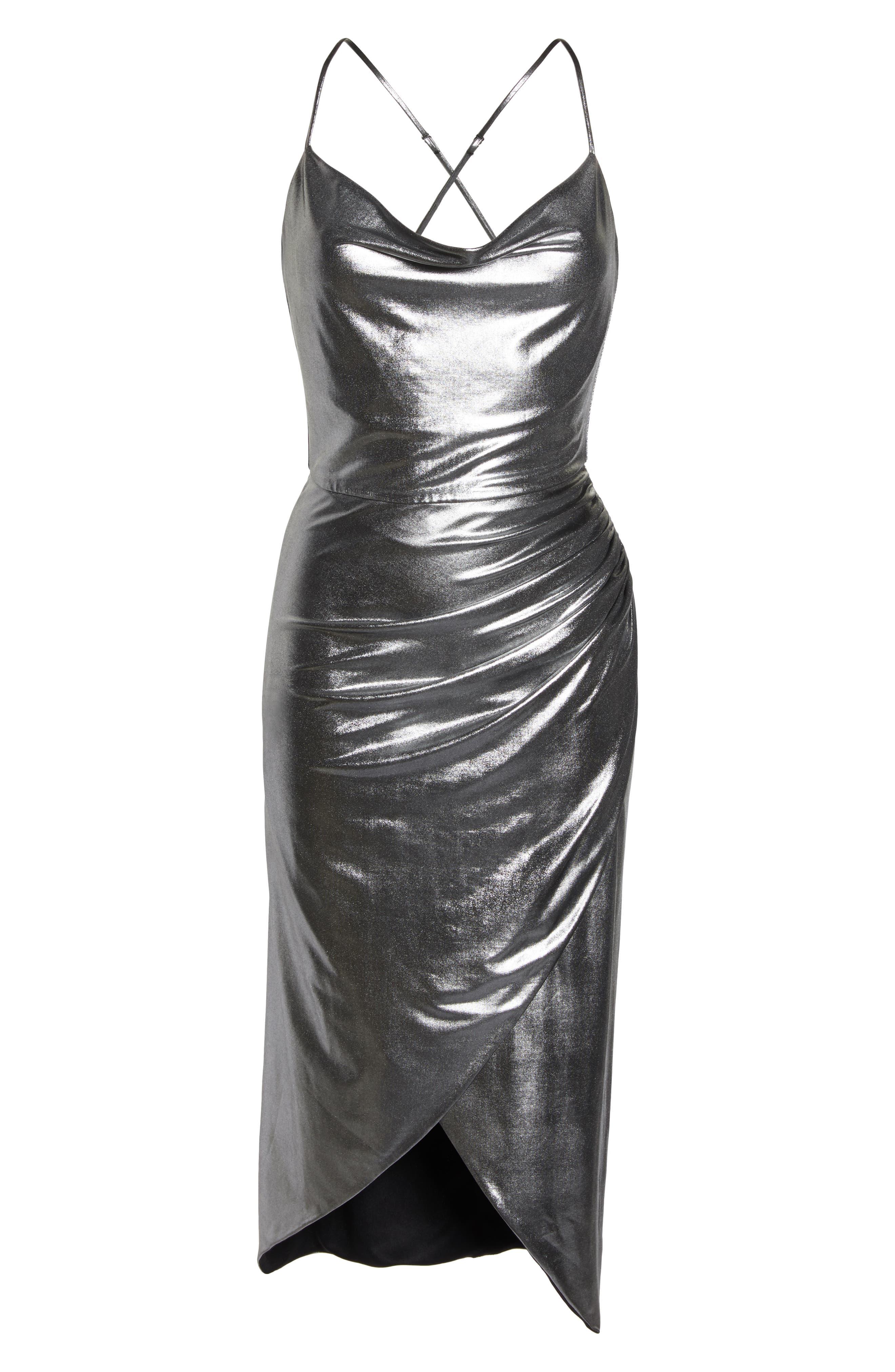 Runway Dress,                             Alternate thumbnail 7, color,                             SILVER