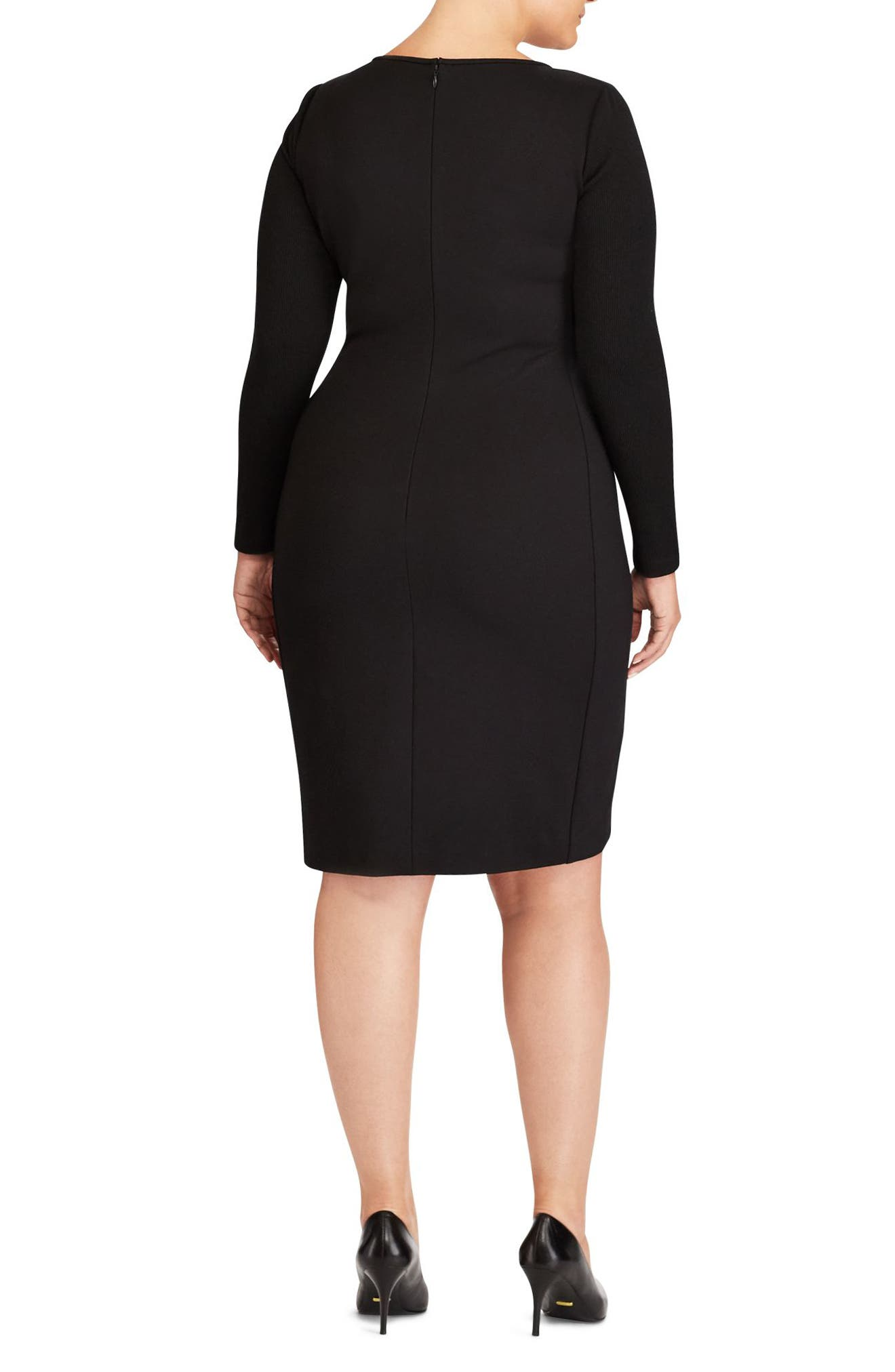 Colorblock Jersey Sheath Dress,                             Alternate thumbnail 2, color,                             001