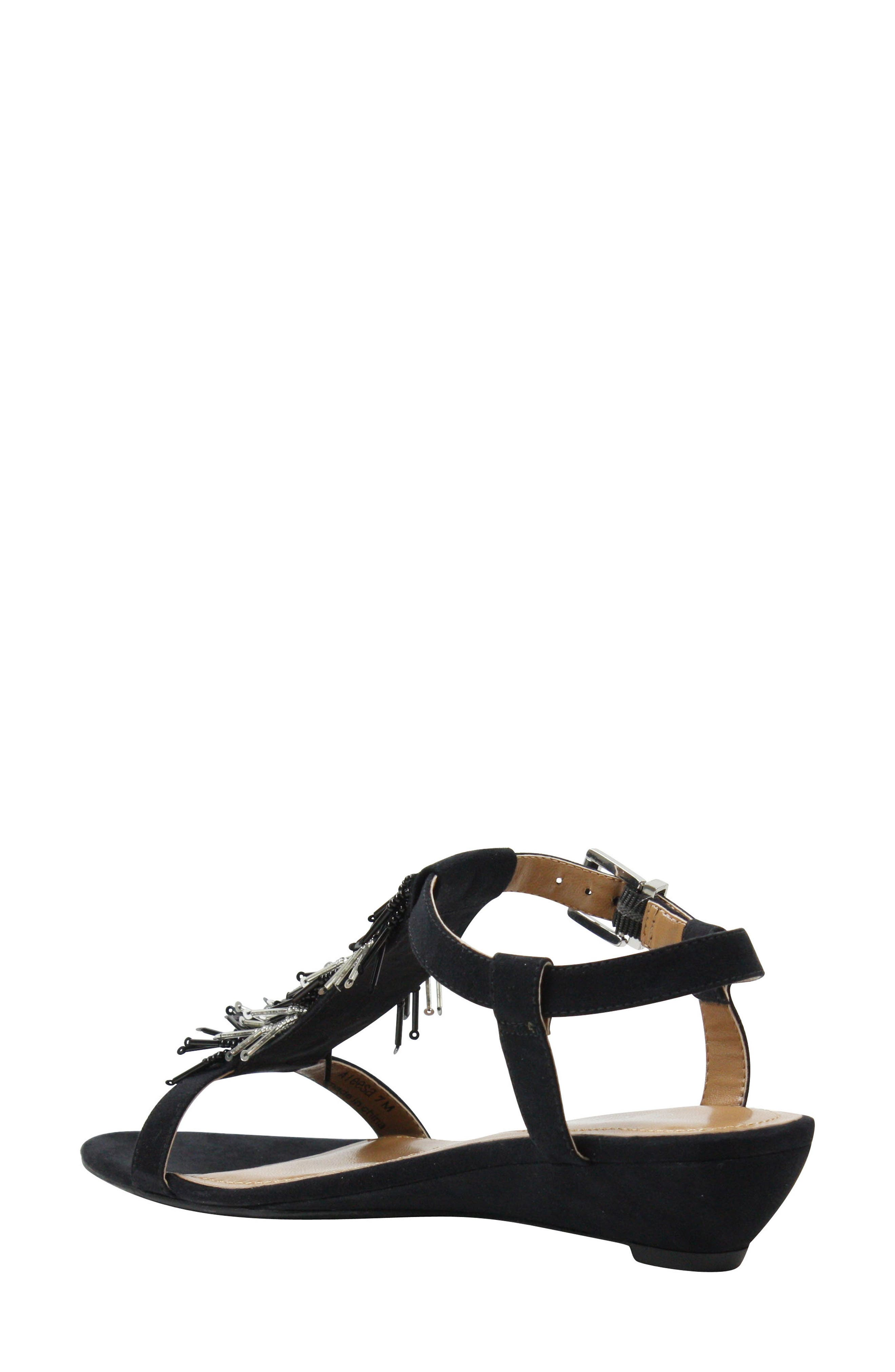 Alessa Sandal,                             Alternate thumbnail 2, color,                             BLACK/ SILVER FABRIC