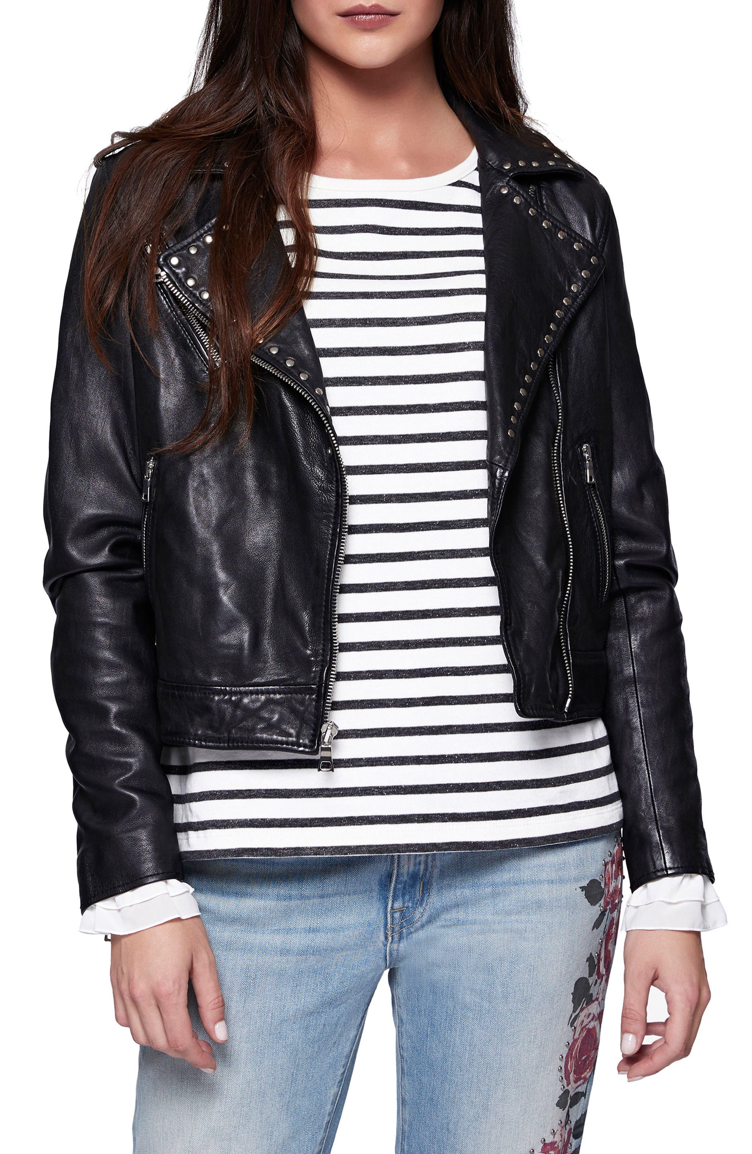 Ophelia Moto Leather Jacket,                             Main thumbnail 1, color,