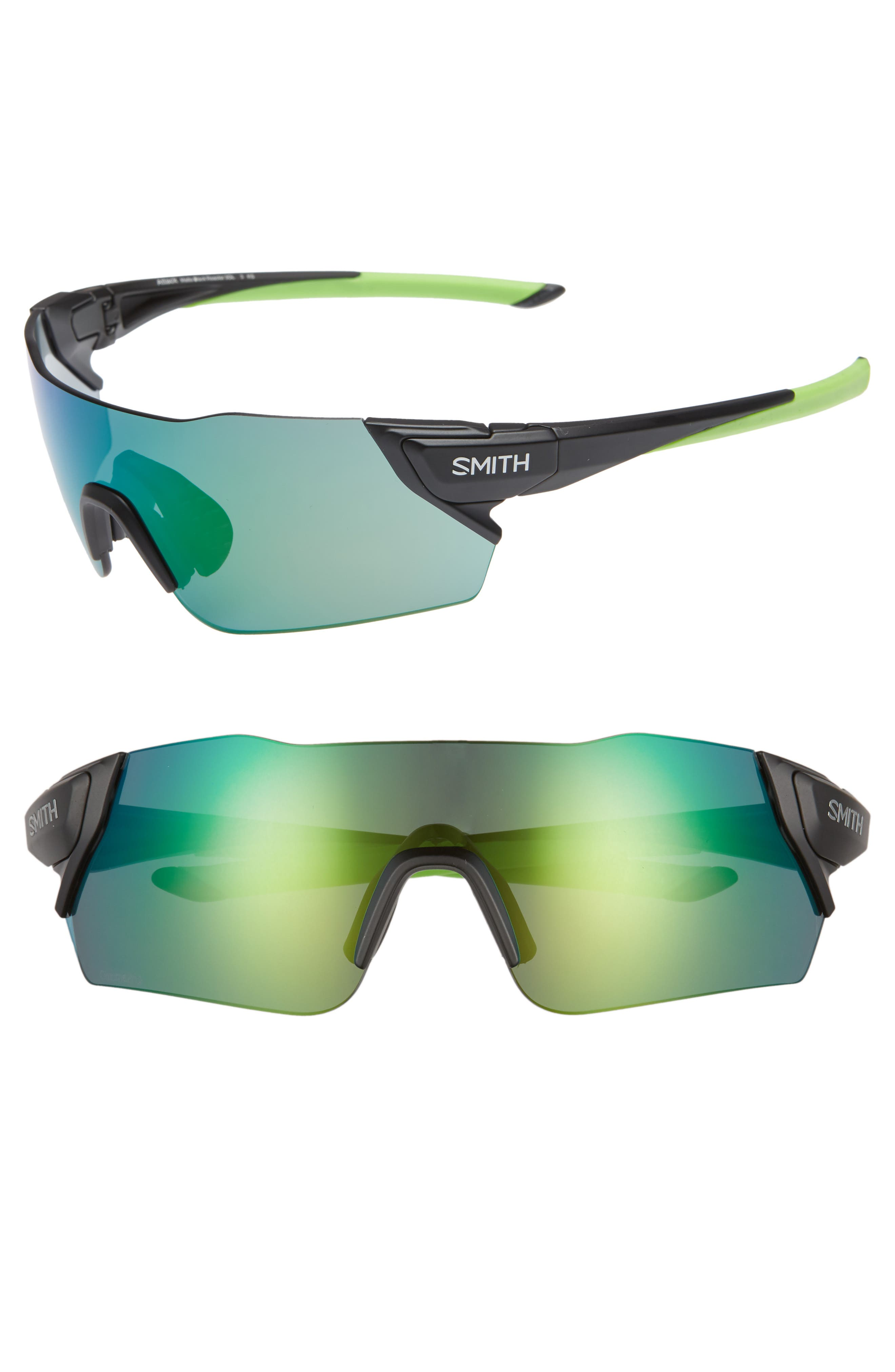 Attack 130mm ChromaPop<sup>™</sup> Shield Sunglasses,                         Main,                         color, MATTE BLACK REACTOR