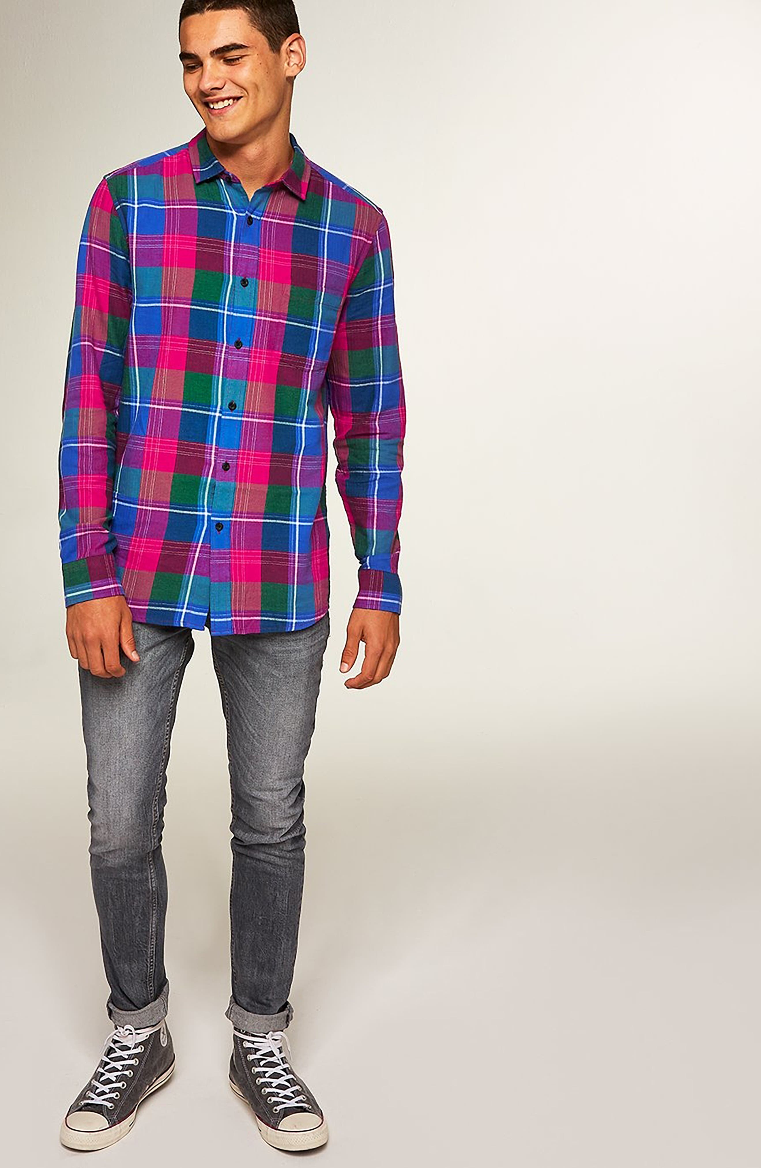 Checked Classic Fit Shirt,                             Alternate thumbnail 5, color,                             PINK MULTI