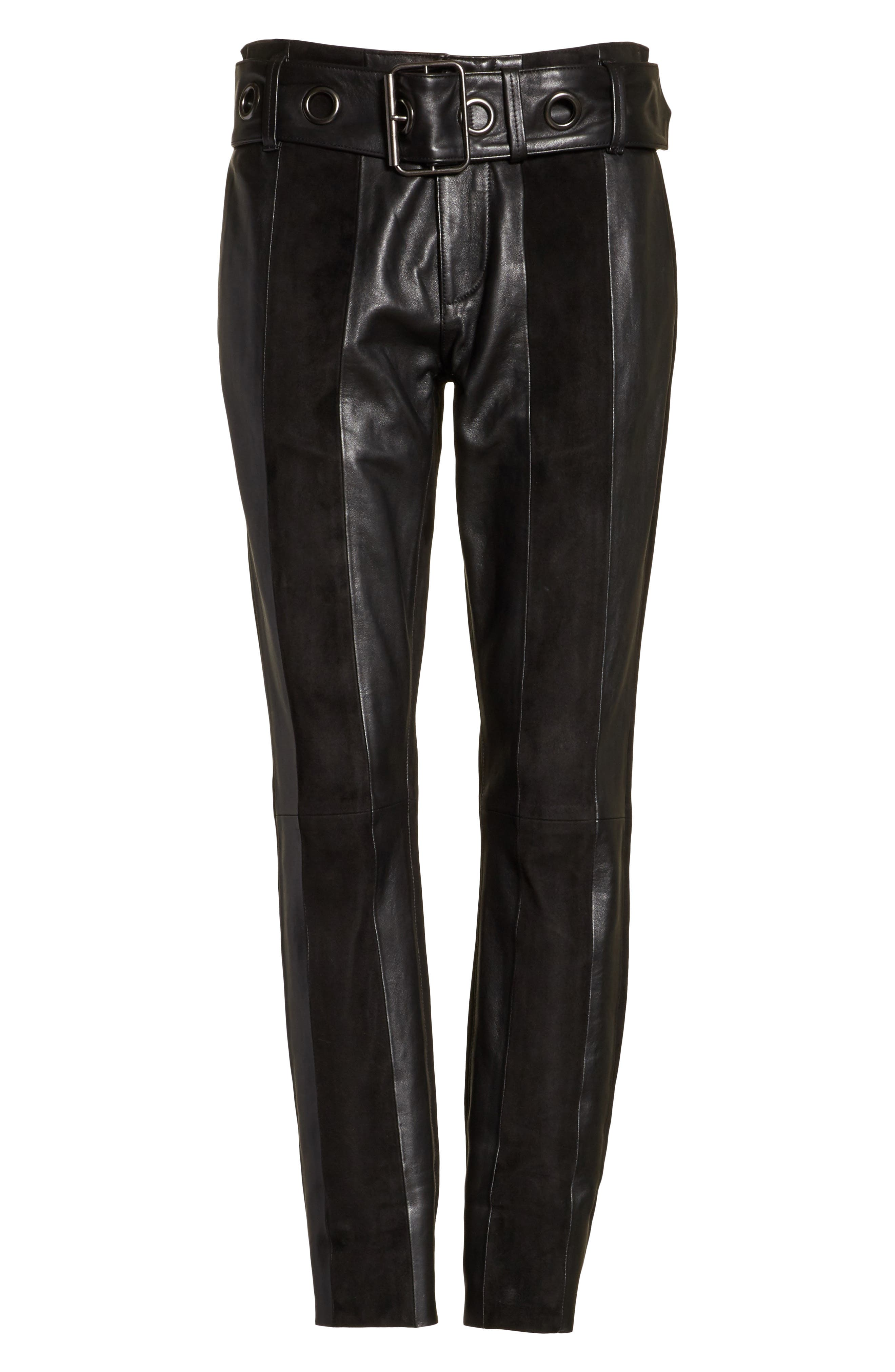 Paneled Suede & Leather Pants,                             Alternate thumbnail 6, color,                             001