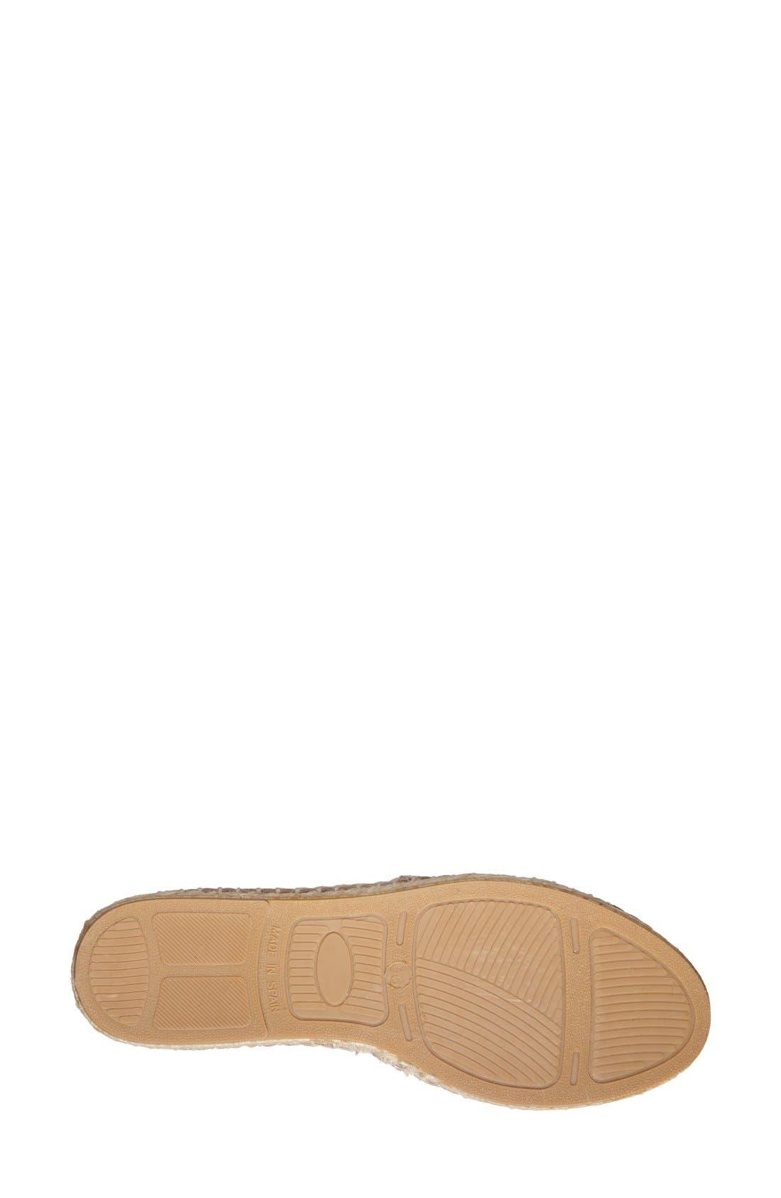 'Ibiza' Leather Espadrille Flat,                             Alternate thumbnail 4, color,                             001