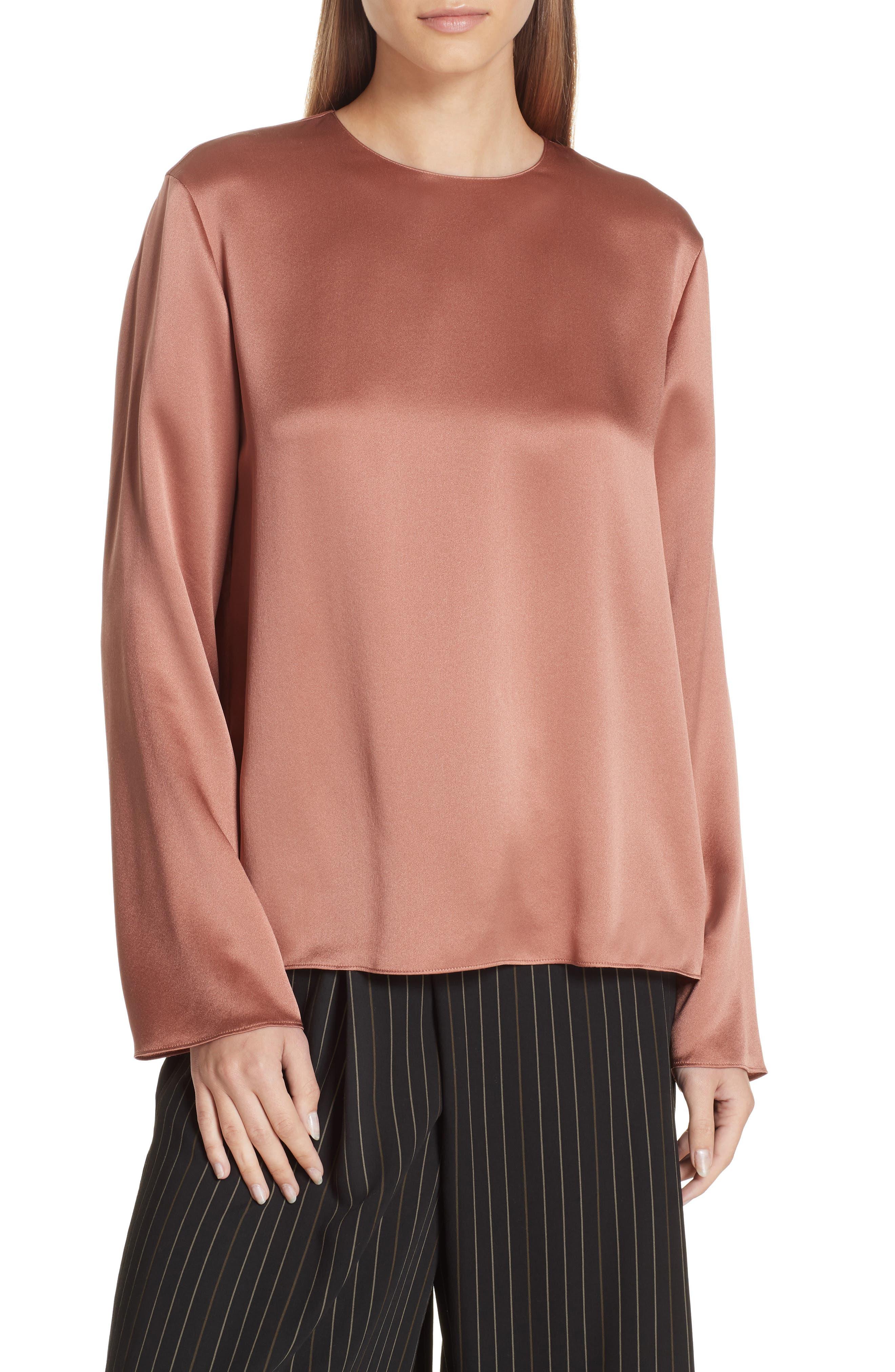 Tie Back Silk Blouse,                         Main,                         color, VINTAGE ROSE