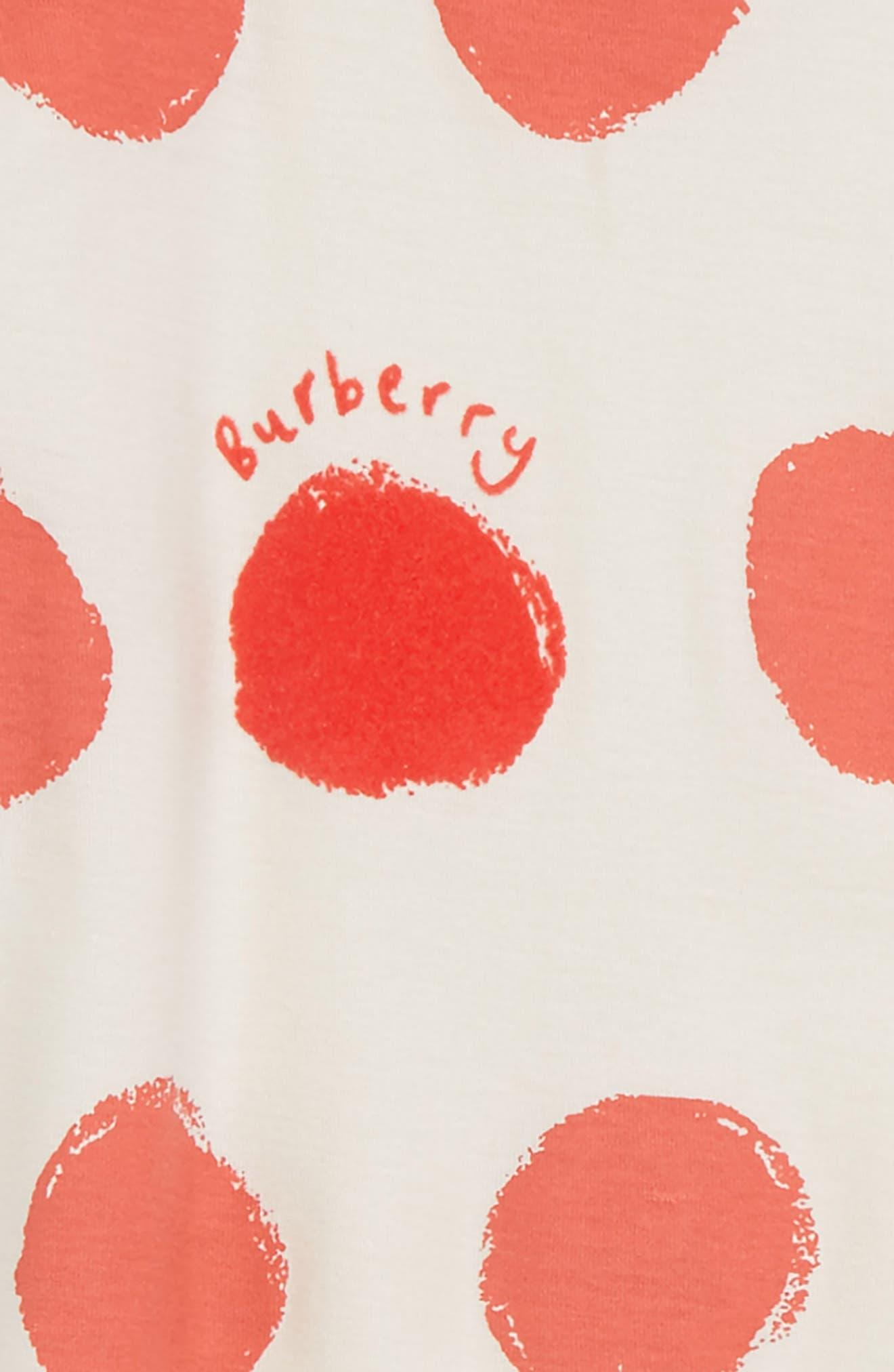 BURBERRY,                             Hearts & Dots Footie & Hat Set,                             Alternate thumbnail 2, color,                             100