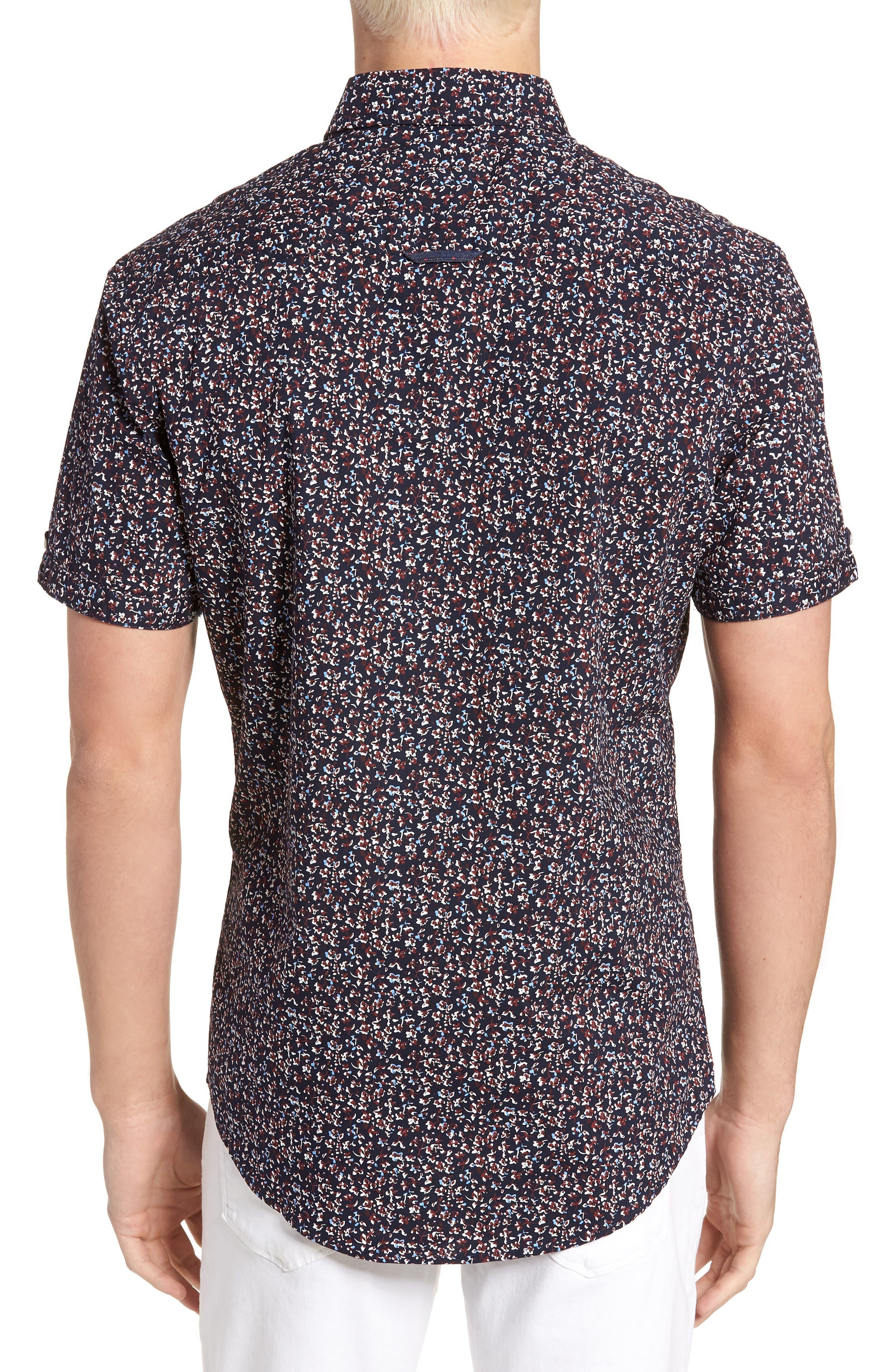 Dark Star Floral Print Sport Shirt,                             Alternate thumbnail 2, color,