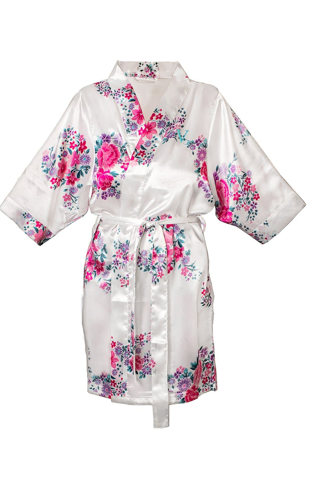 Monogram Floral Satin Robe,                             Main thumbnail 50, color,