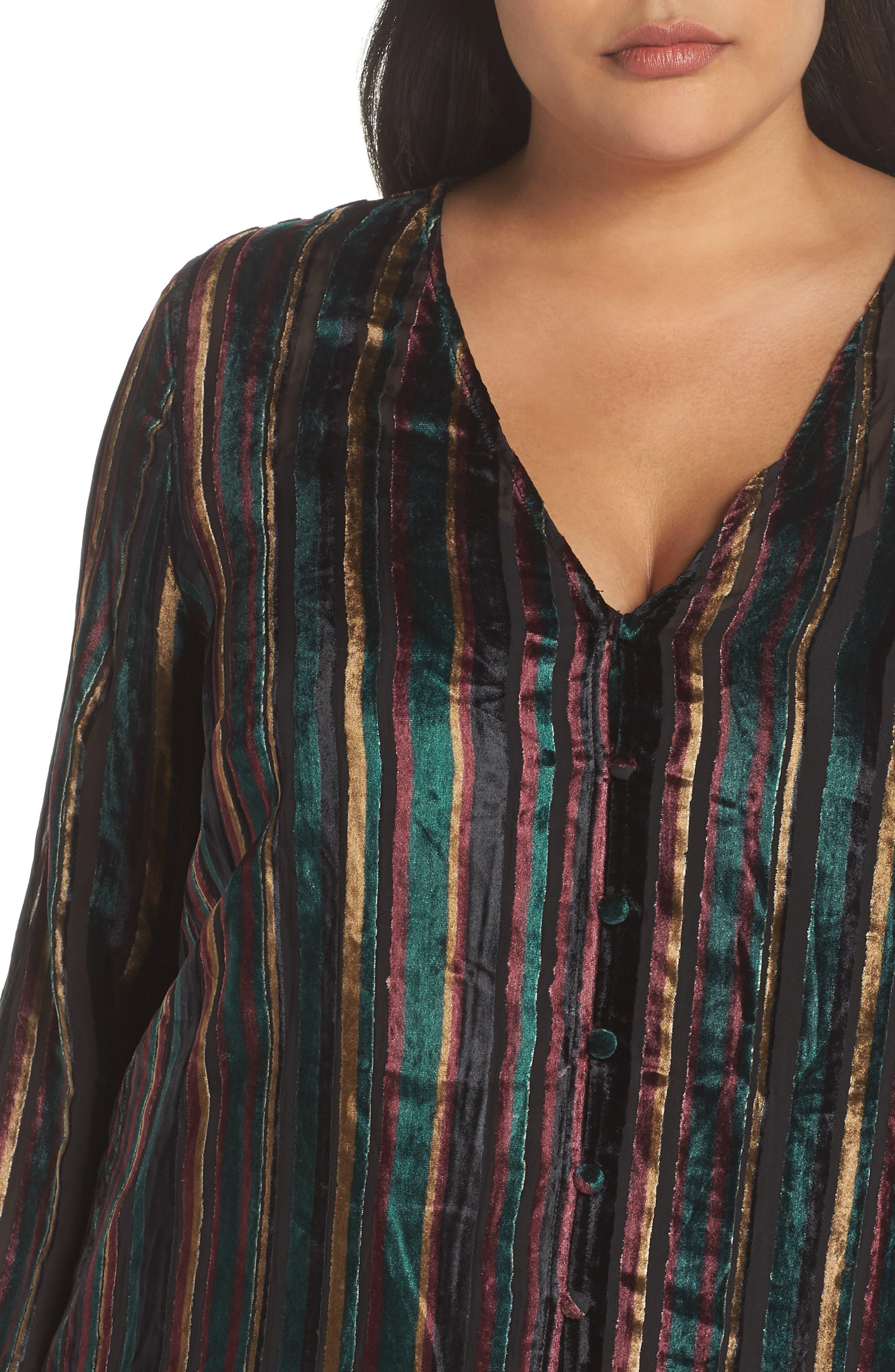 Velvet Burnout Stripe Dress,                             Alternate thumbnail 4, color,                             BLACK VELVET STRIPE