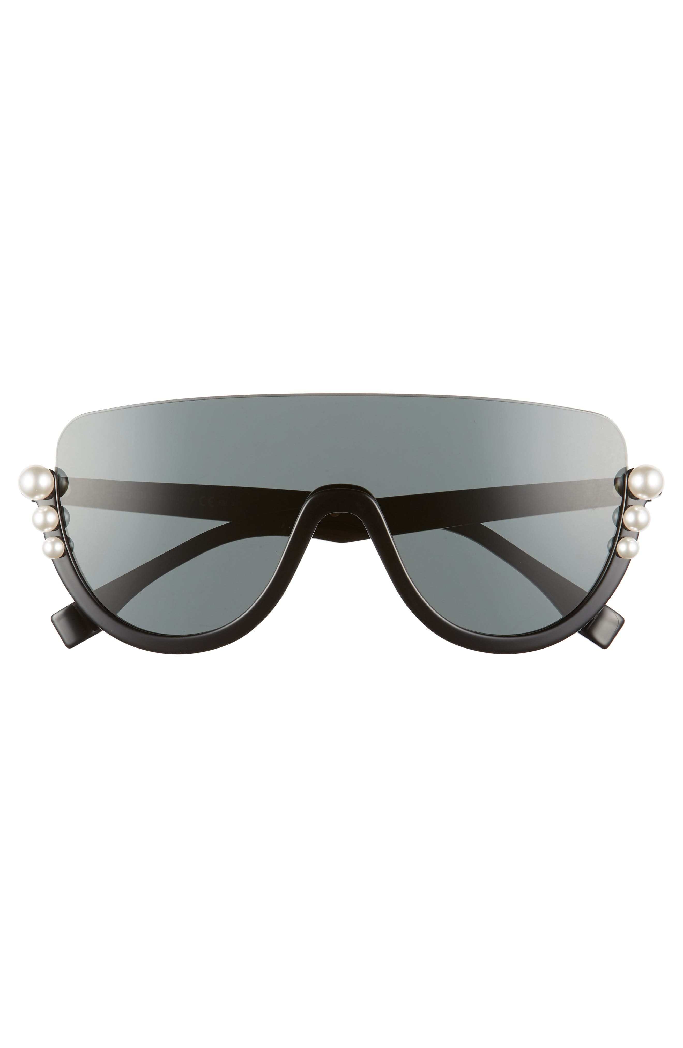 57mm Polarized Rimless Shield Sunglasses,                             Alternate thumbnail 3, color,                             001