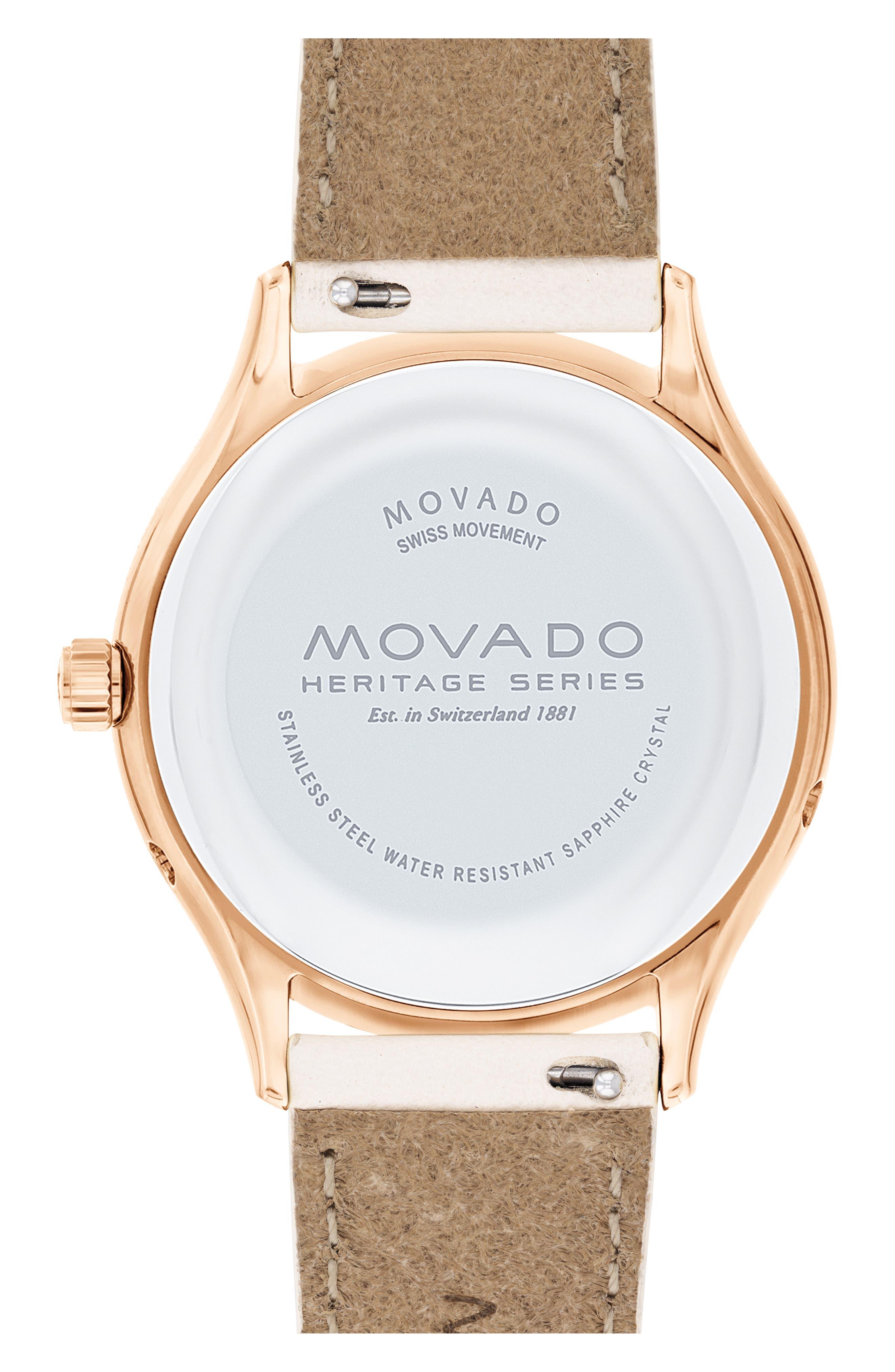 Heritage Celestograf Leather Strap Watch, 36mm,                             Alternate thumbnail 2, color,                             WHITE/ MOP/ ROSE GOLD