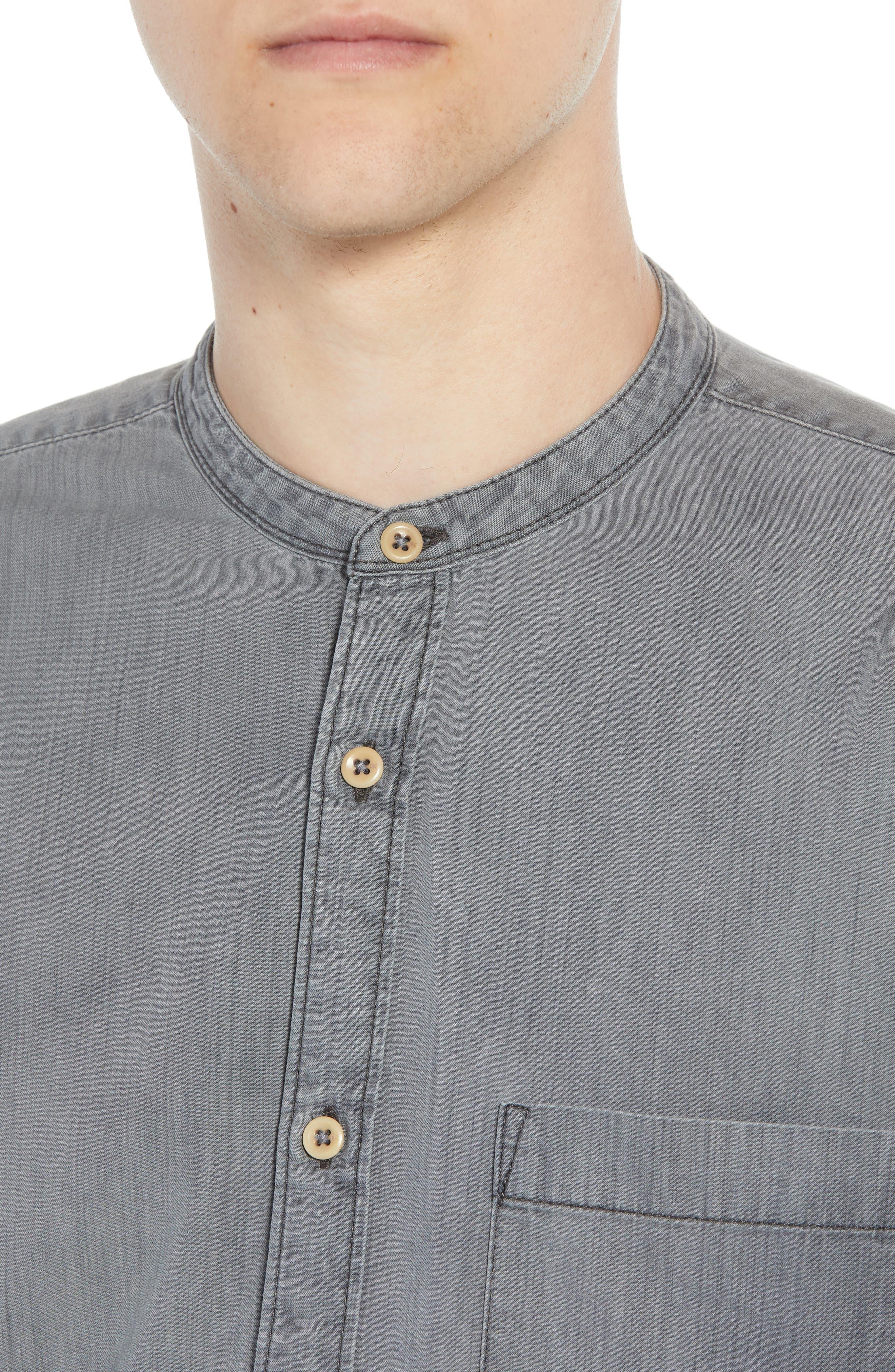 Slim Fit Band Collar Denim Shirt,                             Alternate thumbnail 2, color,                             GREY