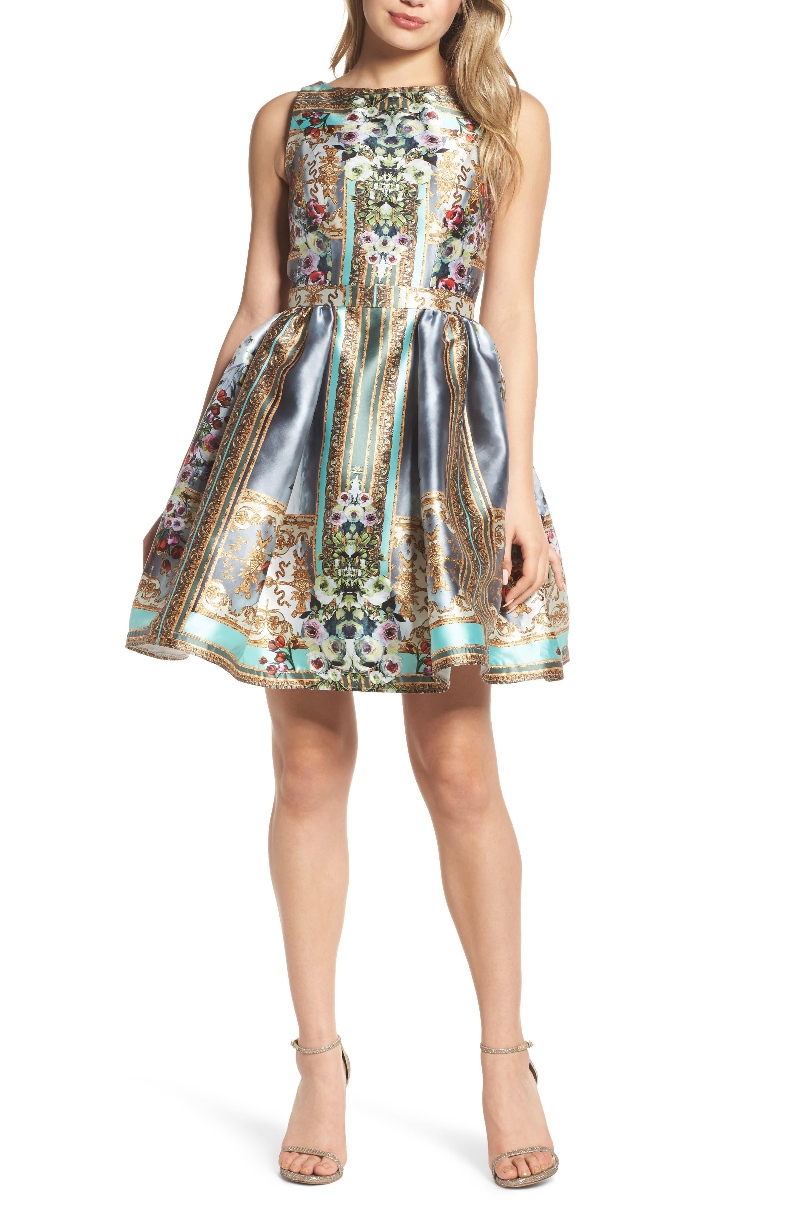 Mirror Fit & Flare Dress,                             Main thumbnail 1, color,