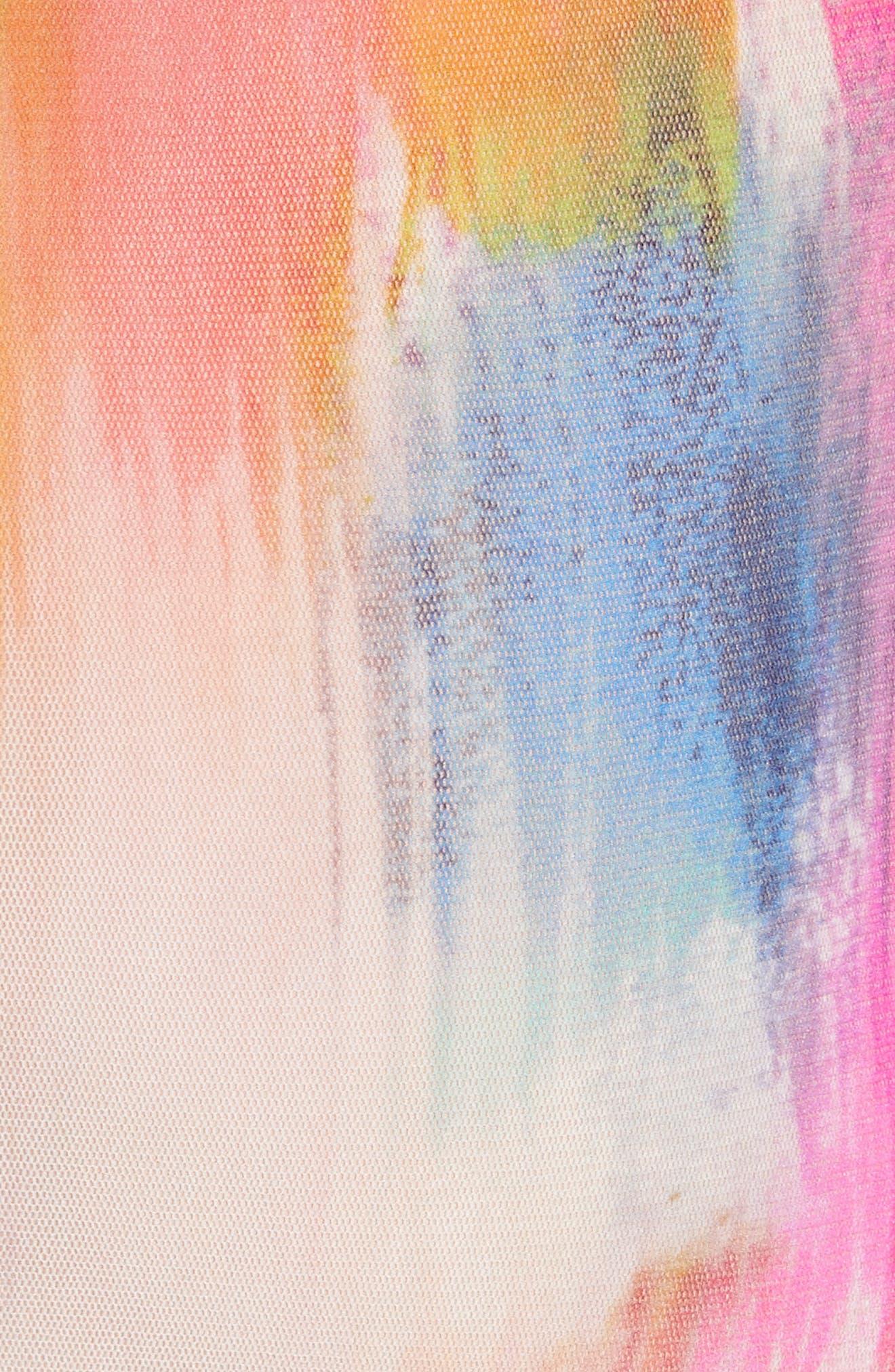 Brushstroke Print Tulle Maxi Dress,                             Alternate thumbnail 5, color,