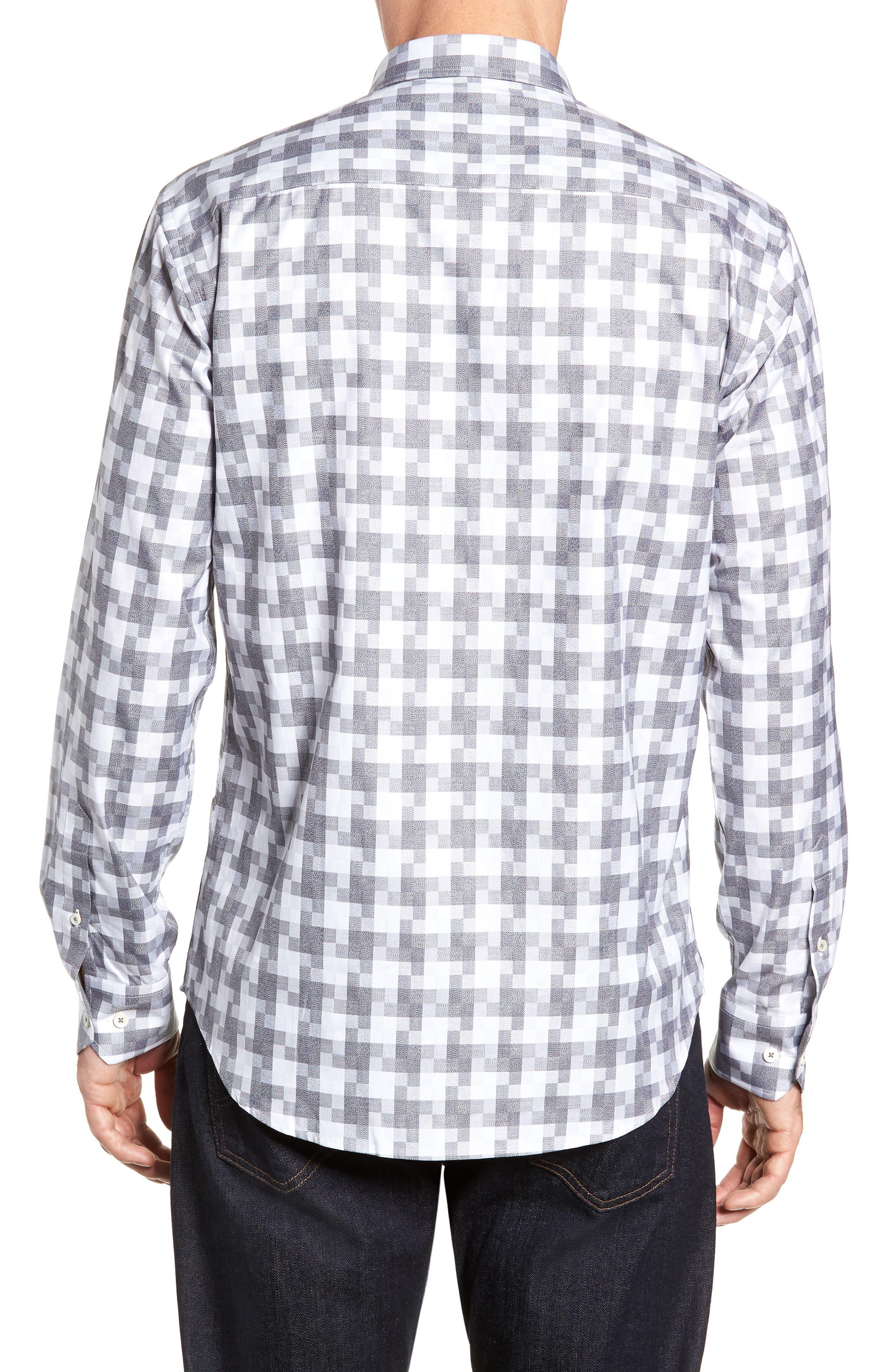 Shaped Fit Sport Shirt,                             Alternate thumbnail 3, color,                             PLATINUM