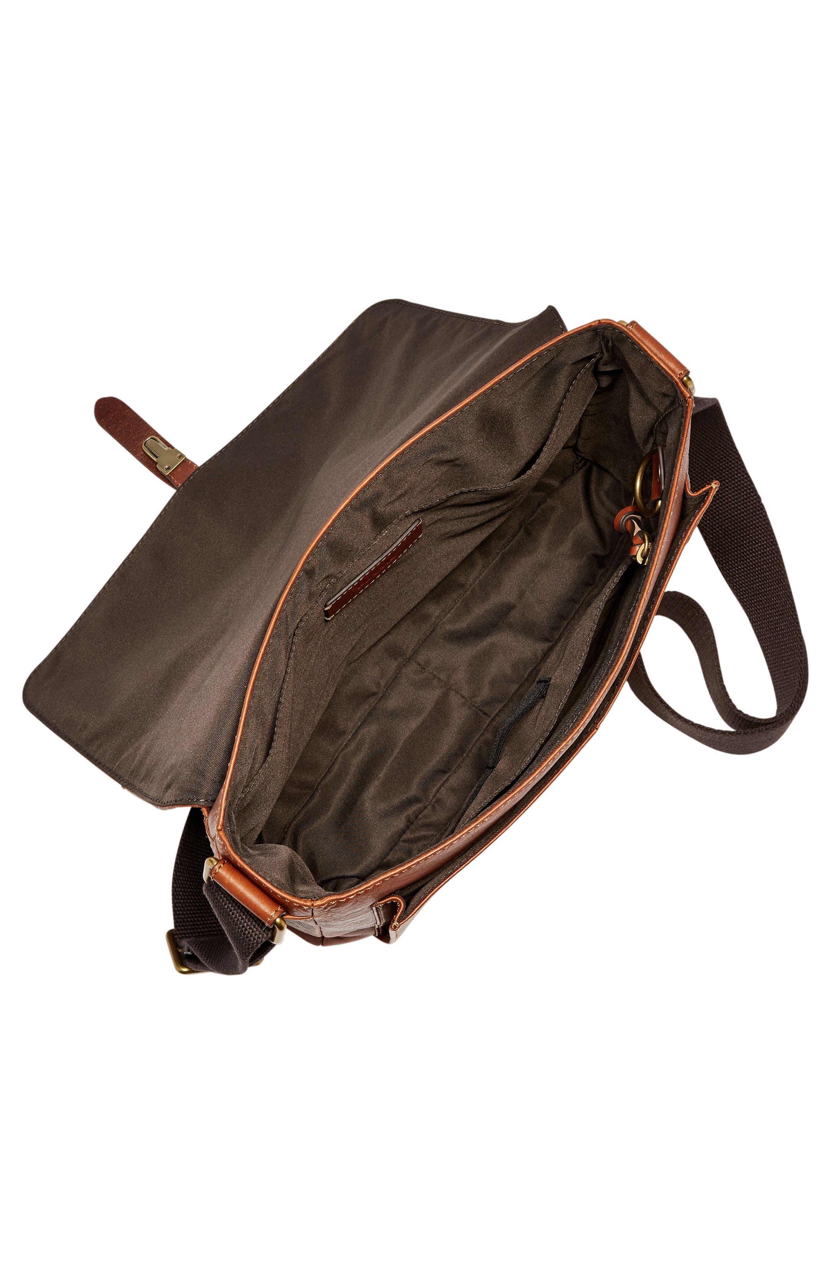 Defender Leather Messenger Bag,                             Alternate thumbnail 3, color,                             202