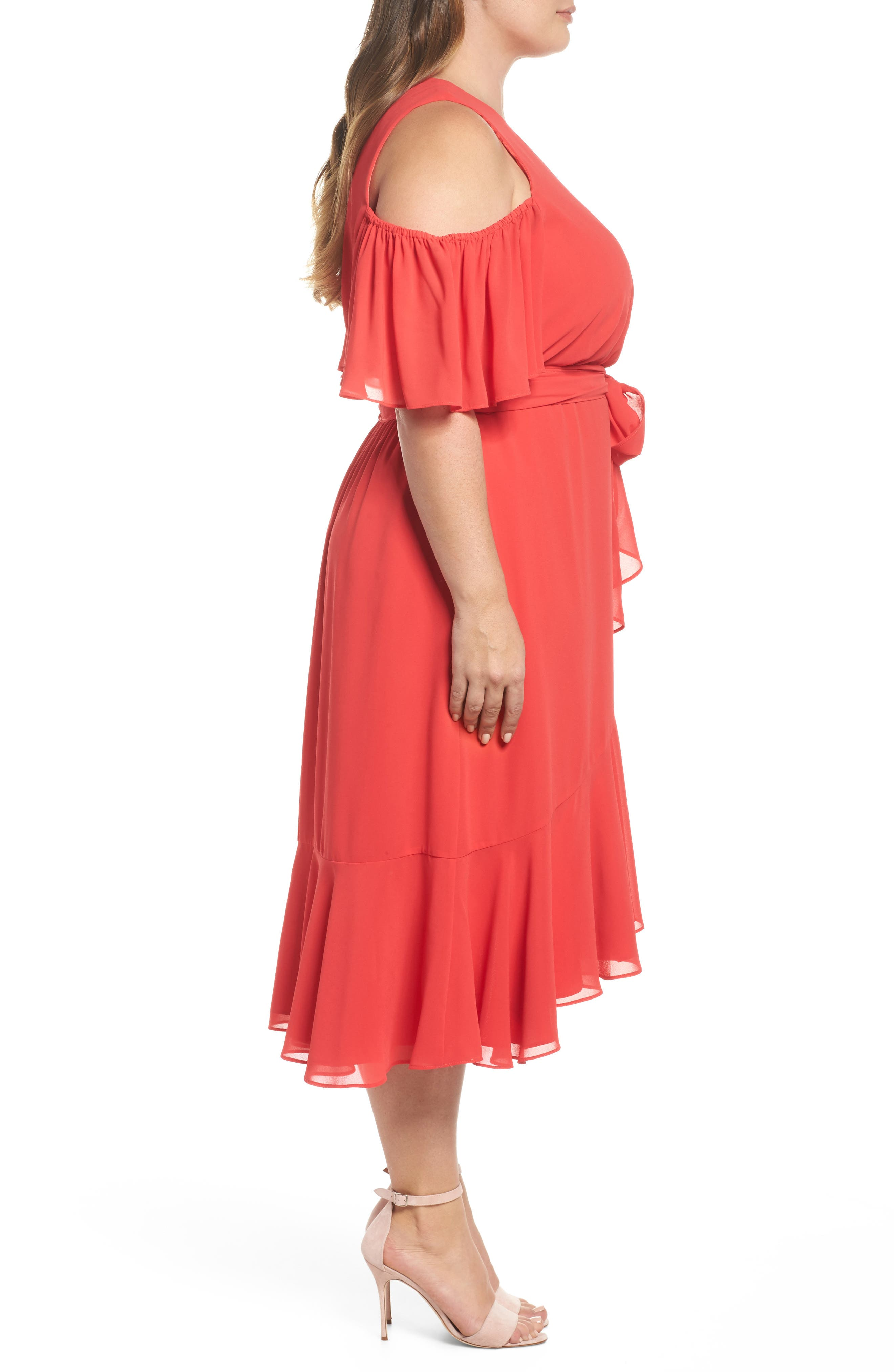 Cold Shoulder Midi Dress,                             Alternate thumbnail 3, color,                             650