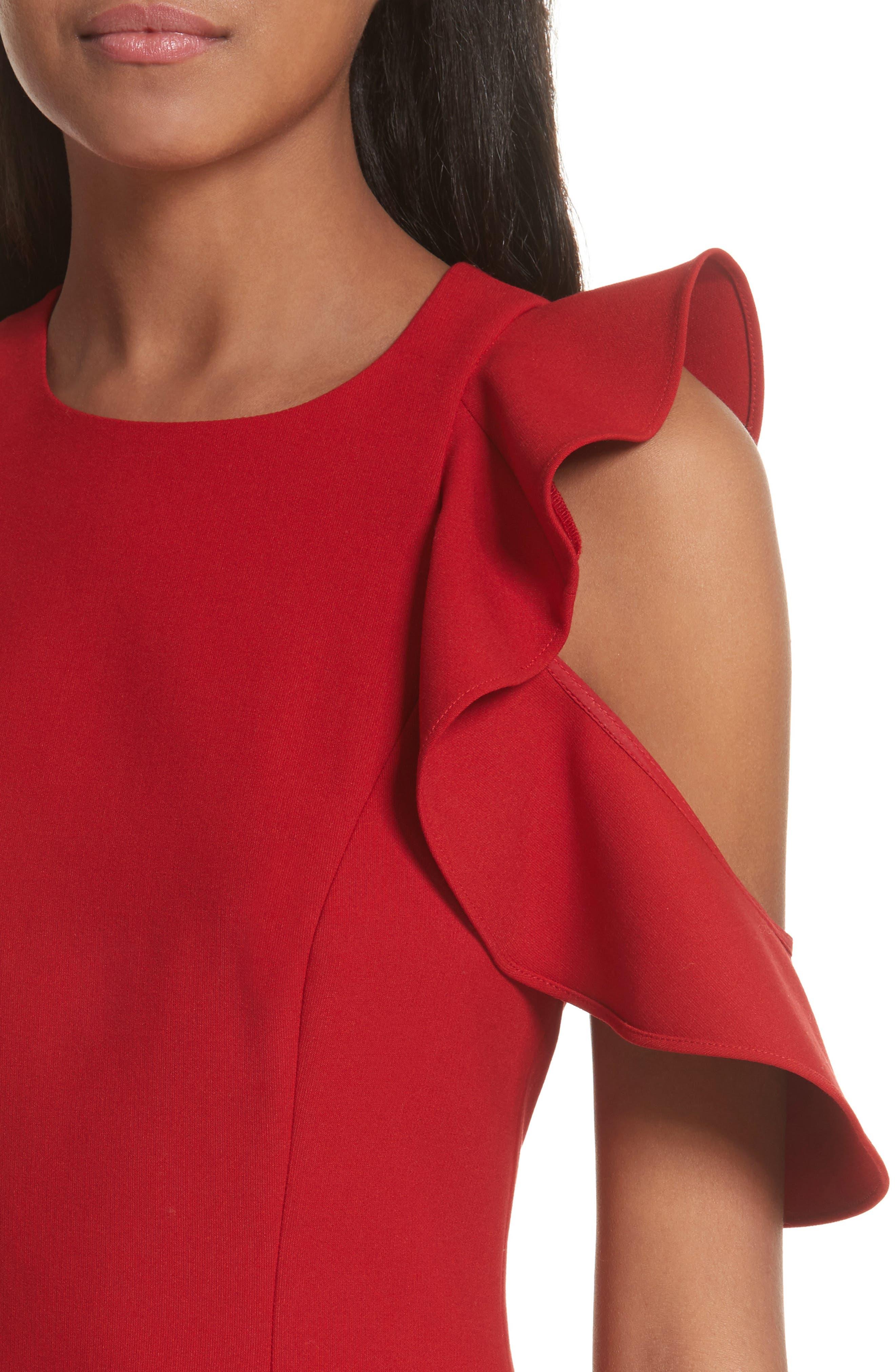 Micah Ruffle Cold Shoulder Dress,                             Alternate thumbnail 4, color,                             641