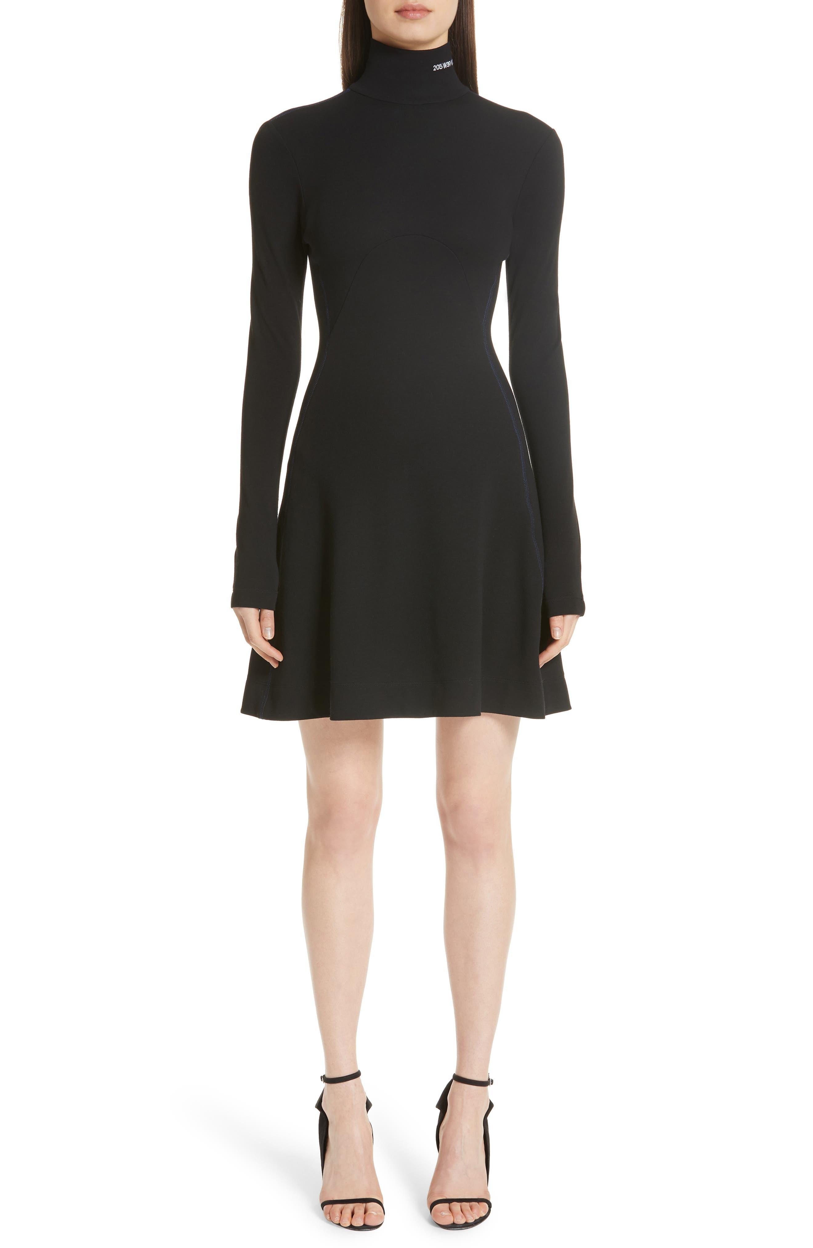 Logo Turtleneck Wool Skater Dress,                         Main,                         color, BLACK