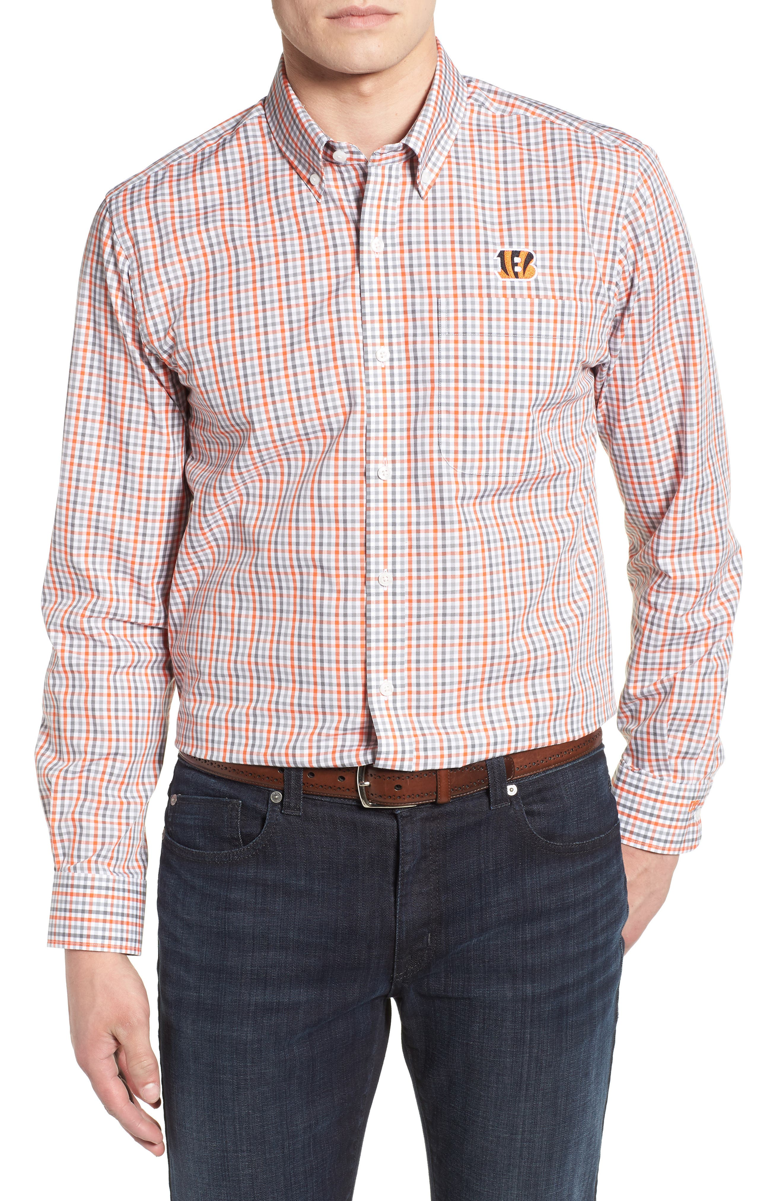 Cincinnati Bengals - Gilman Regular Fit Plaid Sport Shirt,                         Main,                         color, COLLEGE ORANGE