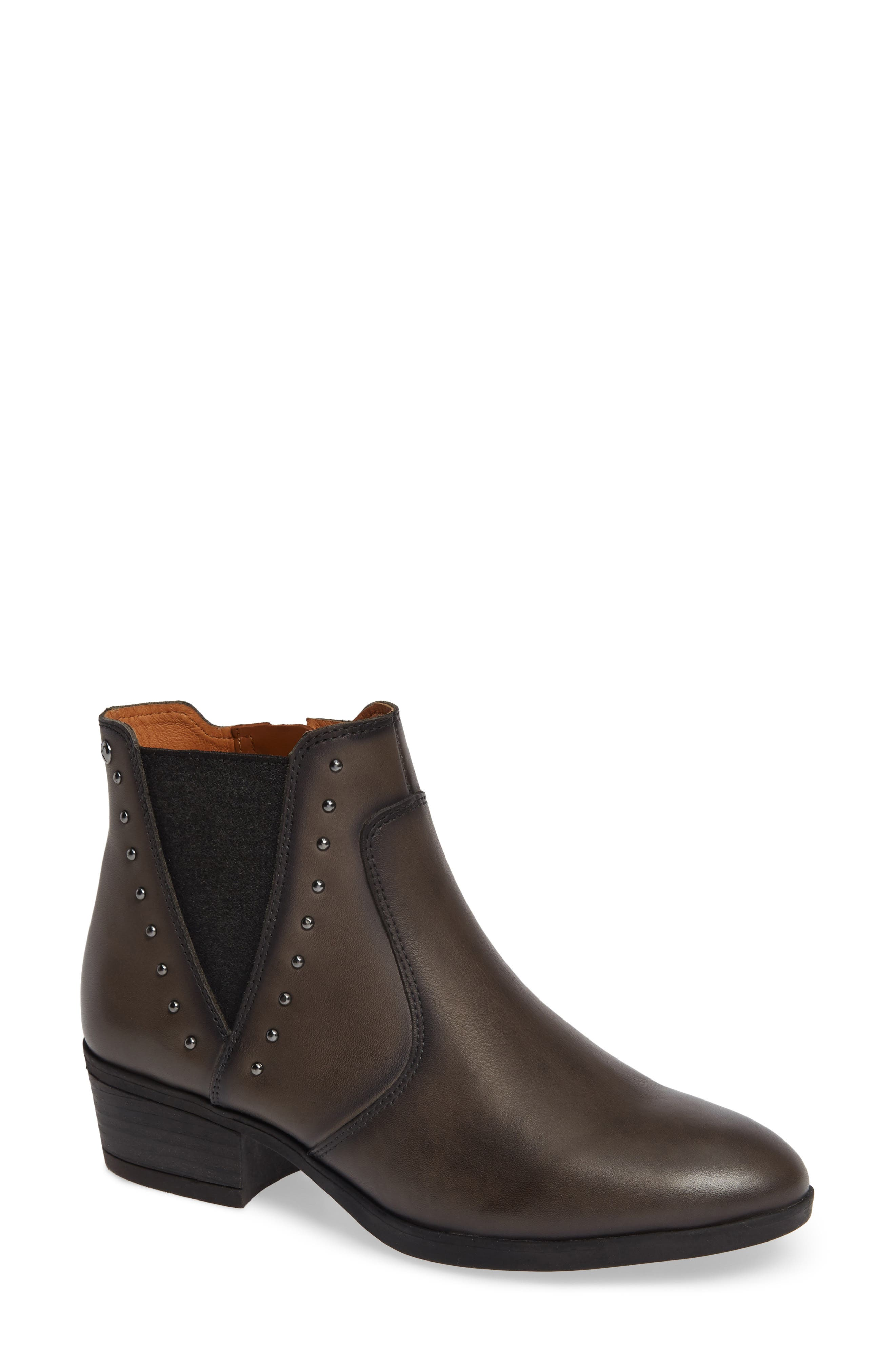 Daroca Studded Bootie,                             Main thumbnail 1, color,                             LEAD LEATHER