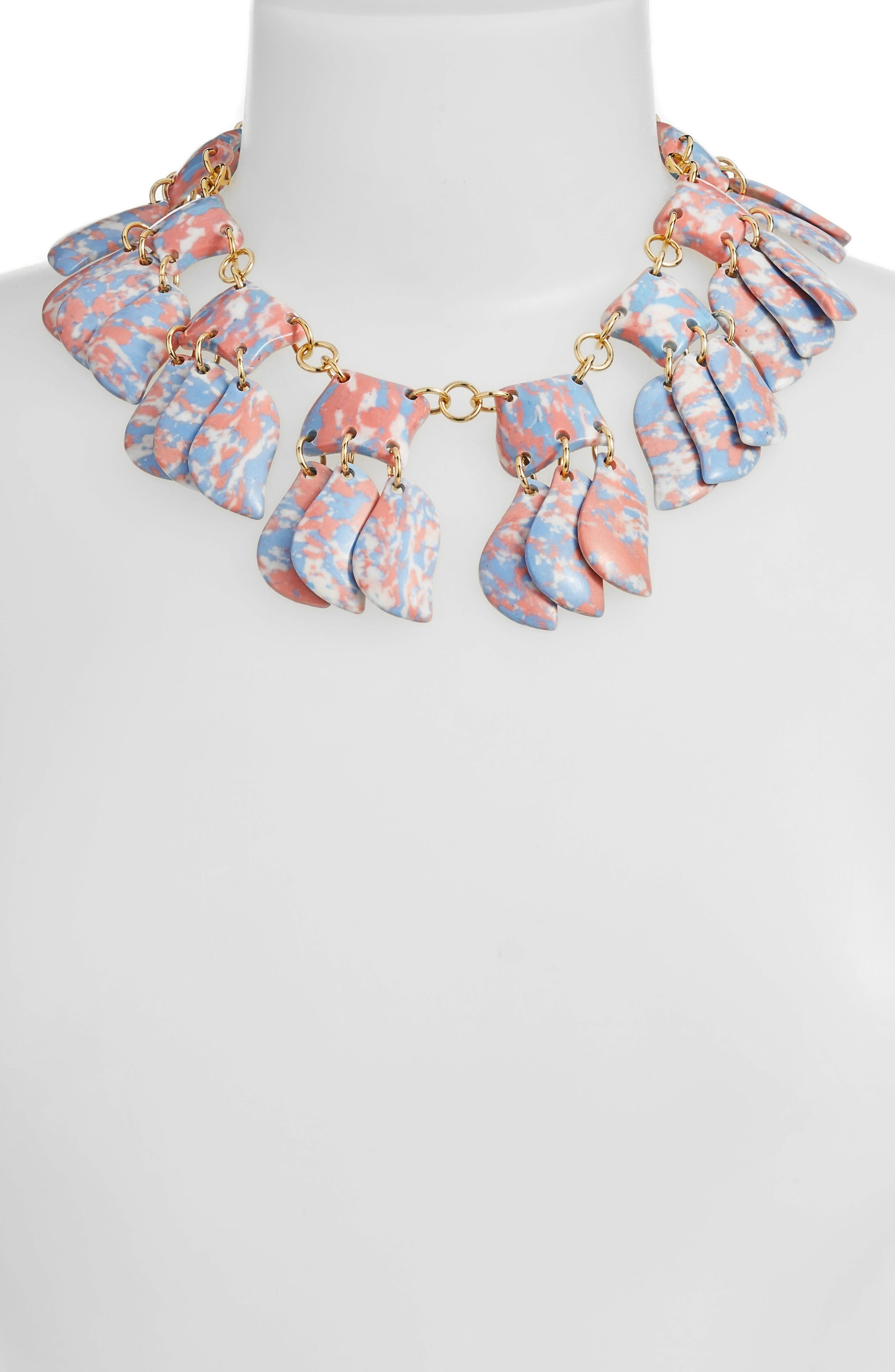 Iris Petal Collar Necklace,                             Alternate thumbnail 2, color,                             SUNSET BLUE