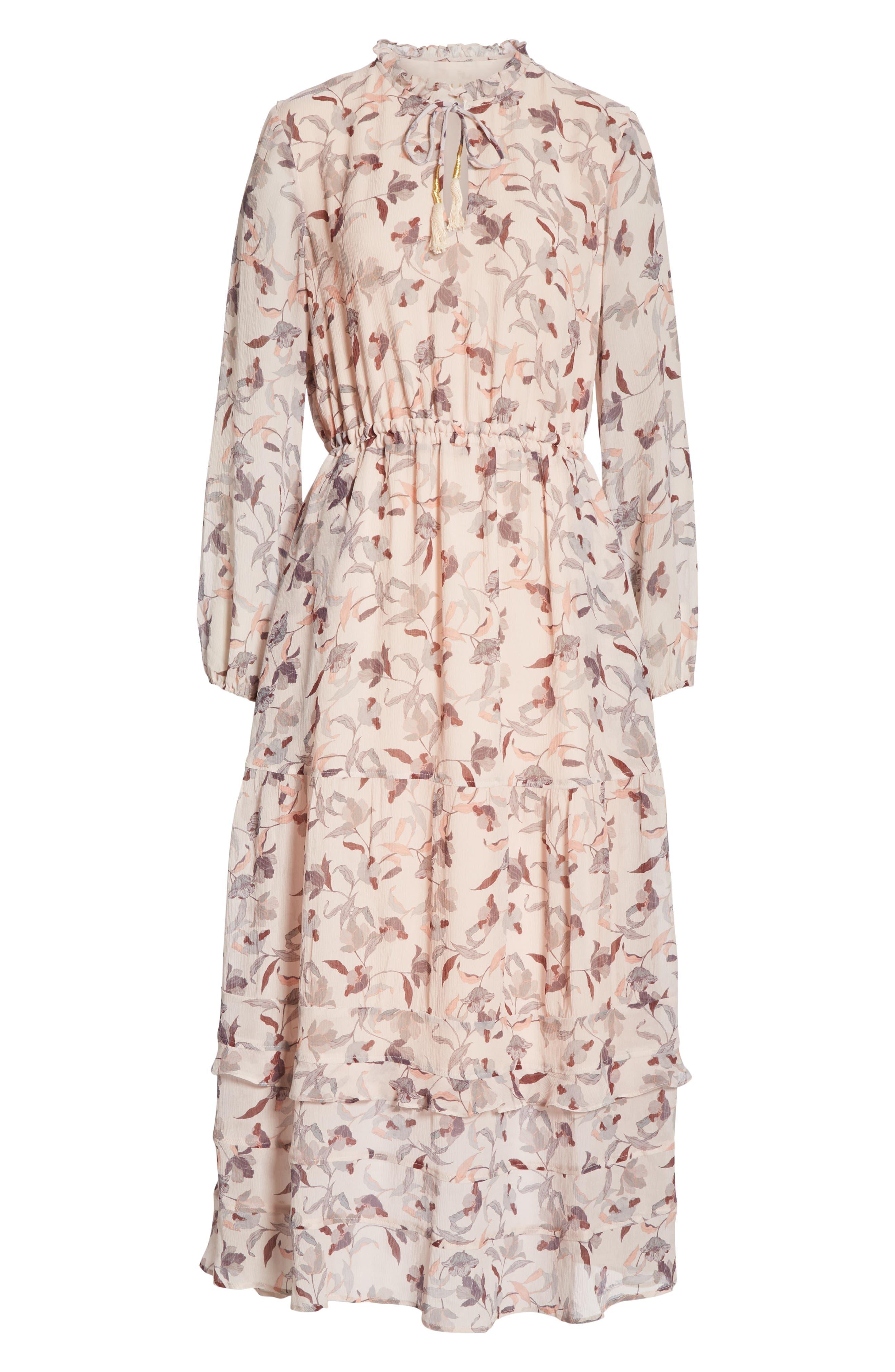 Frances Floral Silk Maxi Dress,                             Alternate thumbnail 7, color,                             FEATHER POPPY