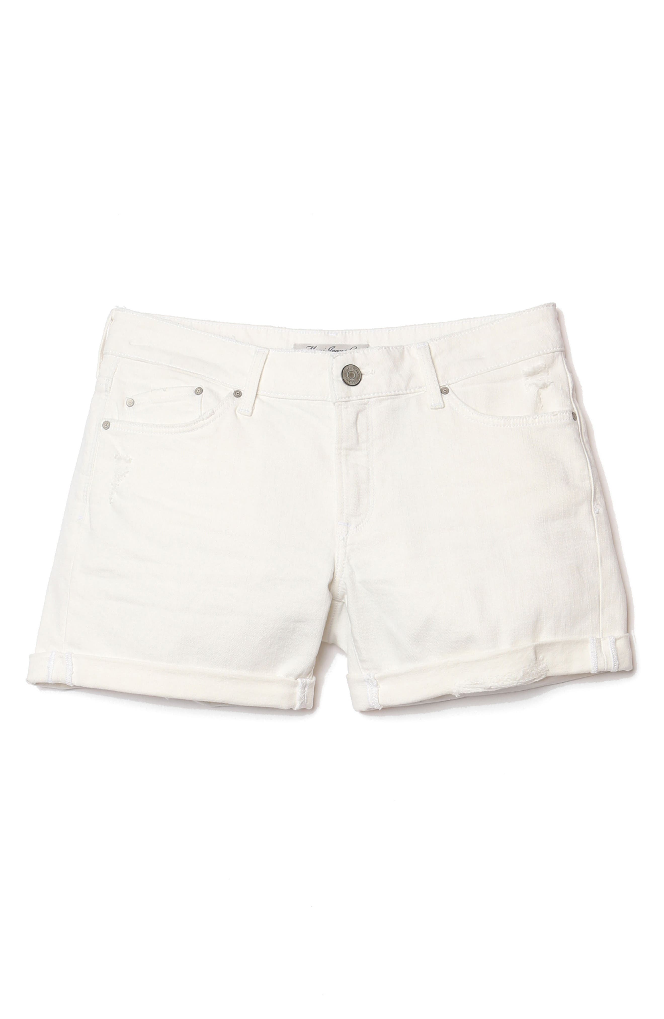 Pixie Ripped Denim Shorts,                             Alternate thumbnail 4, color,                             WHITE RIPPED NOLITA