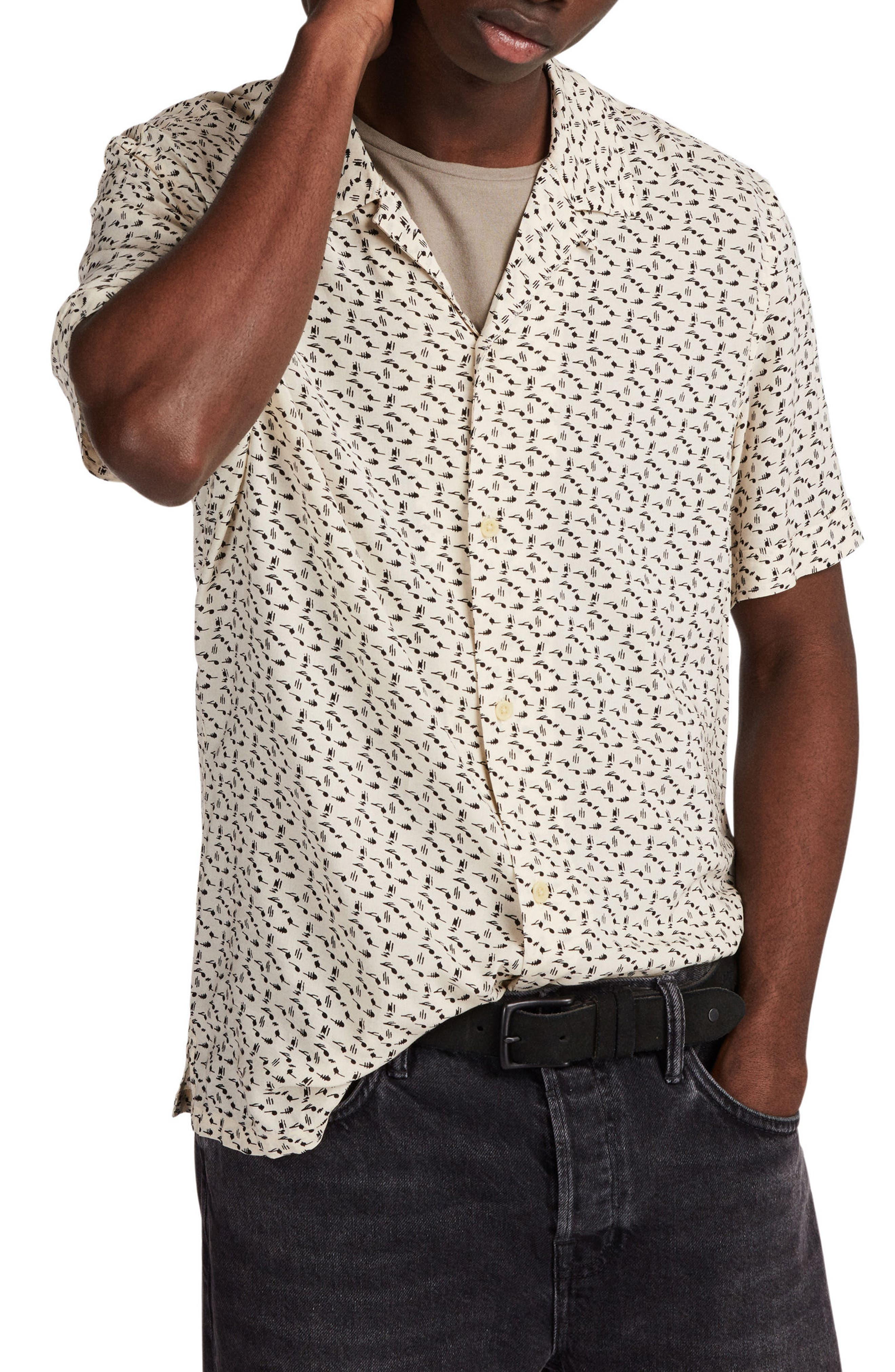 Notes Print Camp Shirt,                         Main,                         color, ECRU WHITE
